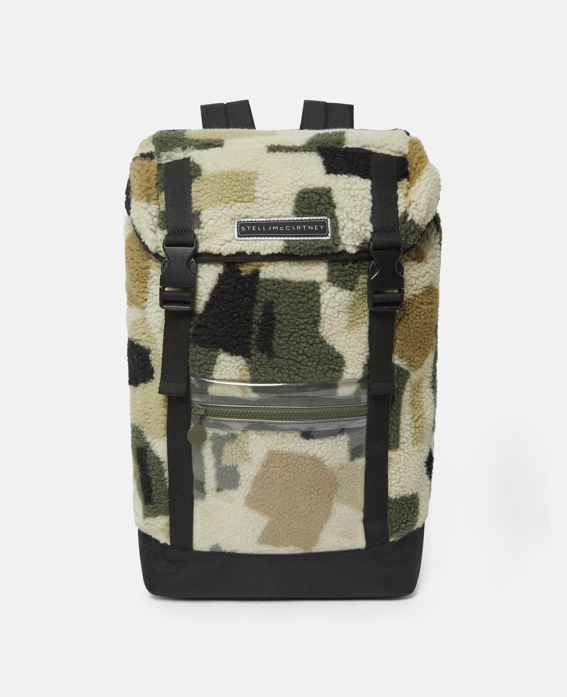 Teddy-Rucksack im Military-Stil mit Camouflage-Print-Beige-large image number 0