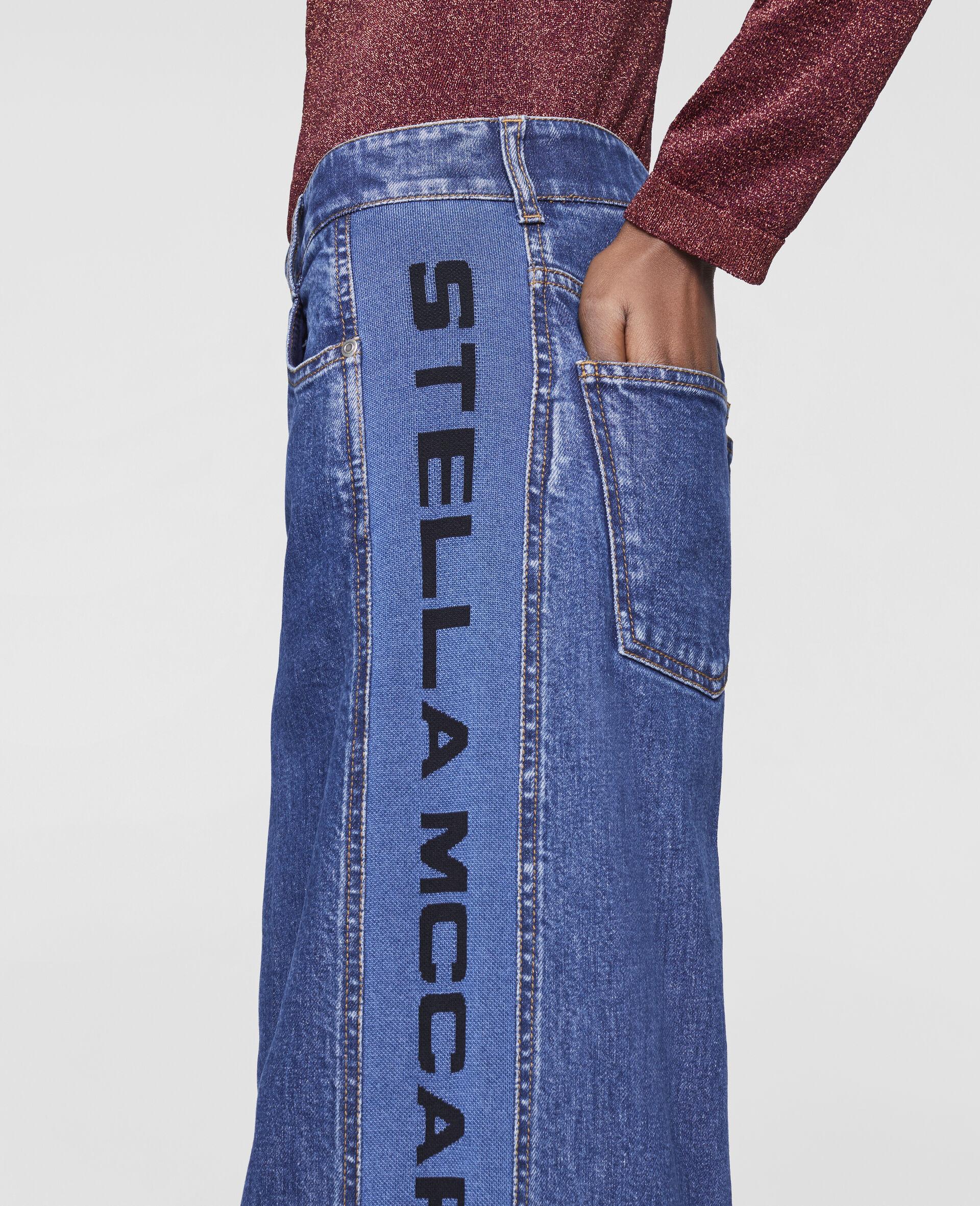 Flared Rib Denim Trousers-Blue-large image number 3