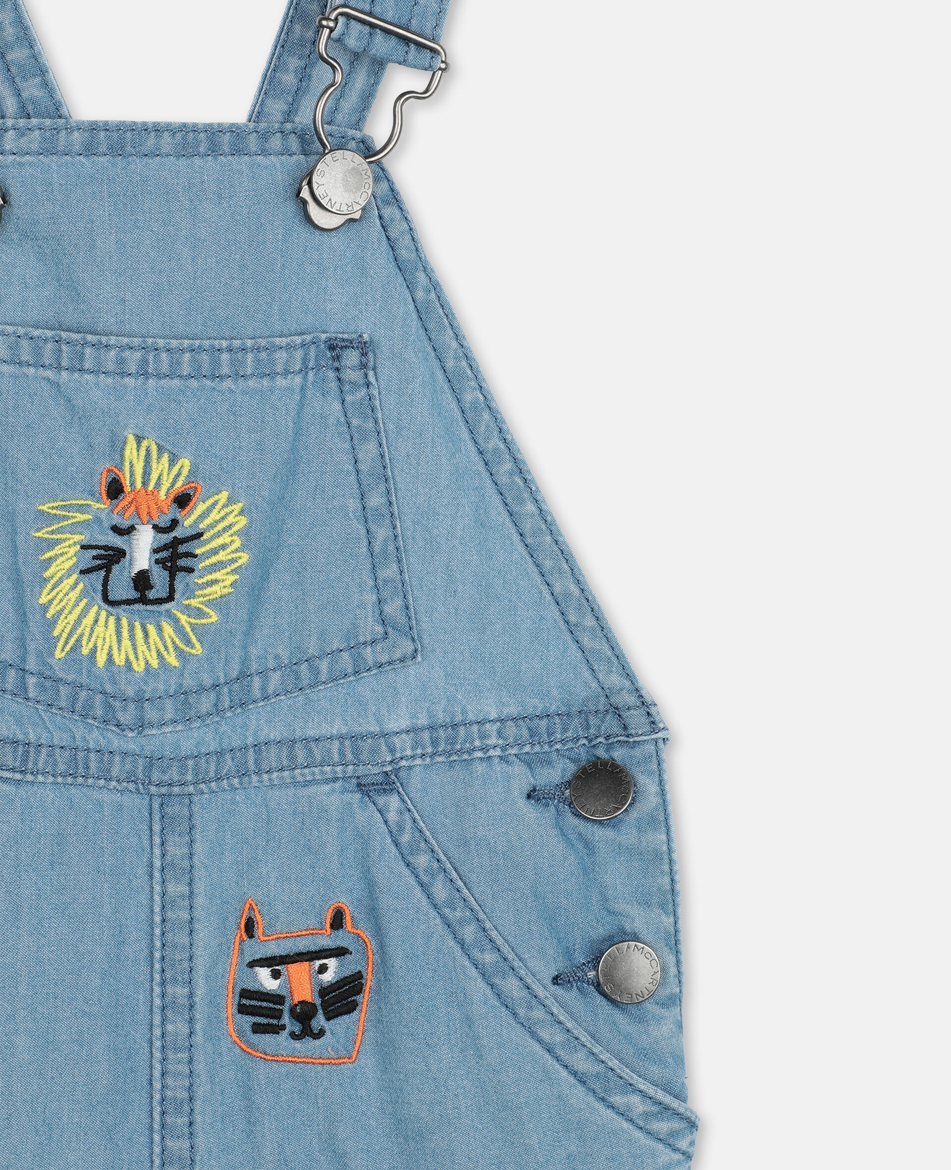 Embroidered Cats Cotton Chambray Dungarees-Blue-large image number 1