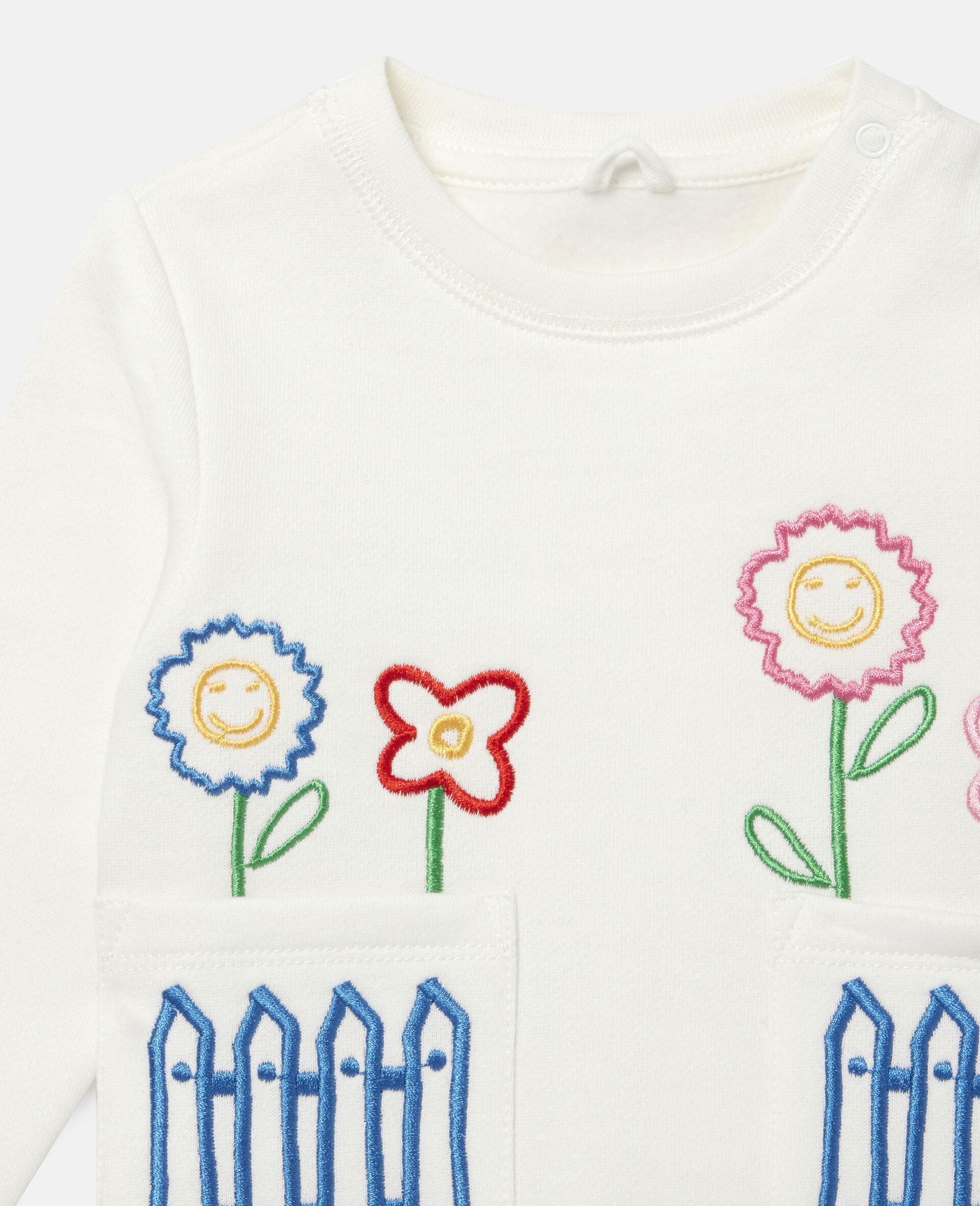 Sweat-shirt en polaire à broderie jardin-Blanc-large image number 1