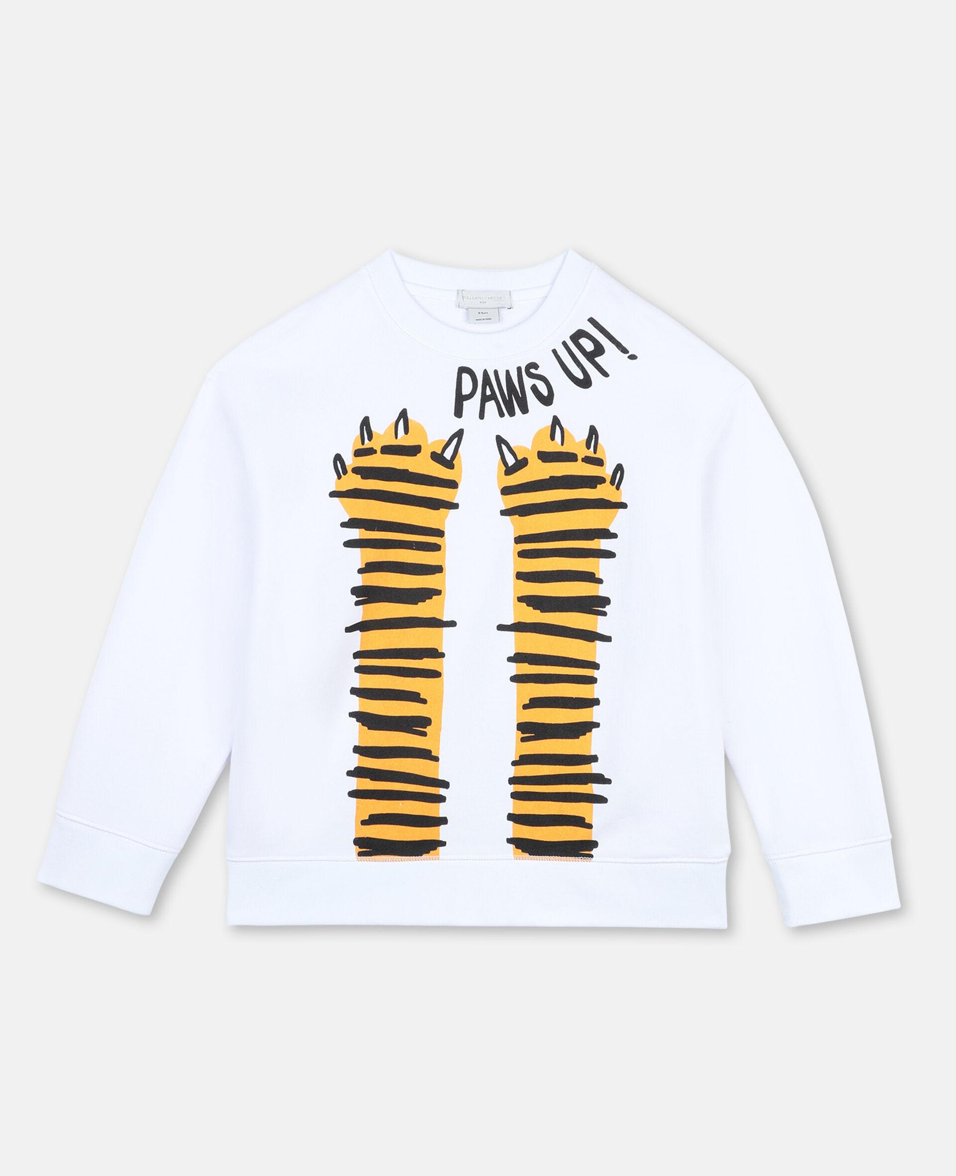"Oversized-Sweatshirt aus Baumwolle mit ""Paws Up""-Print -Weiß-large image number 0"