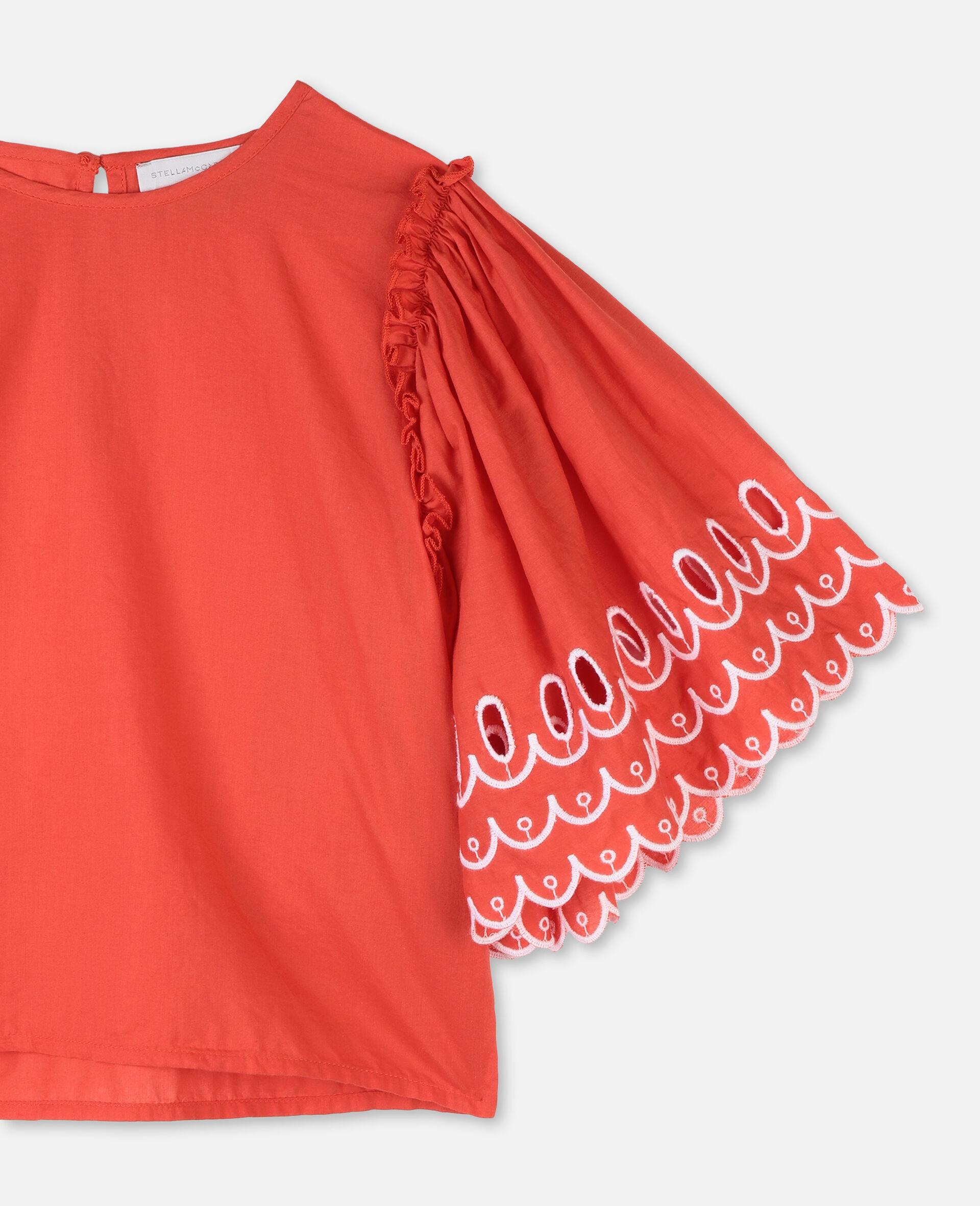Top en coton festonné-Rouge-large image number 1