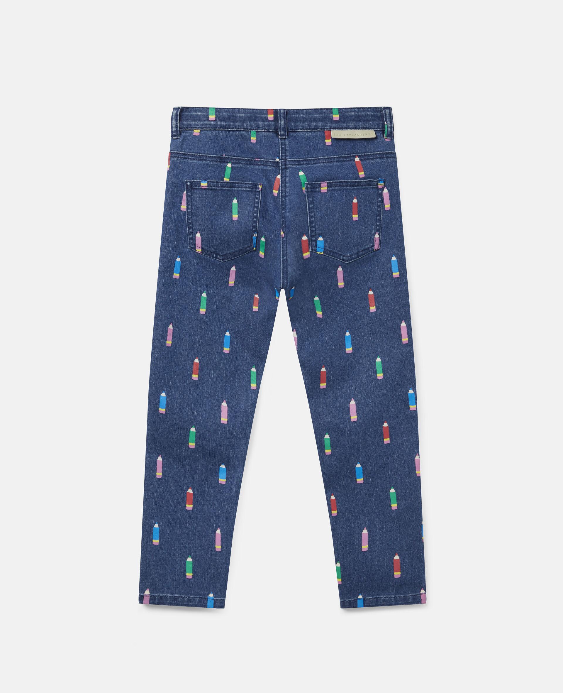 Pantalon en denim motif crayons-Bleu-large image number 3