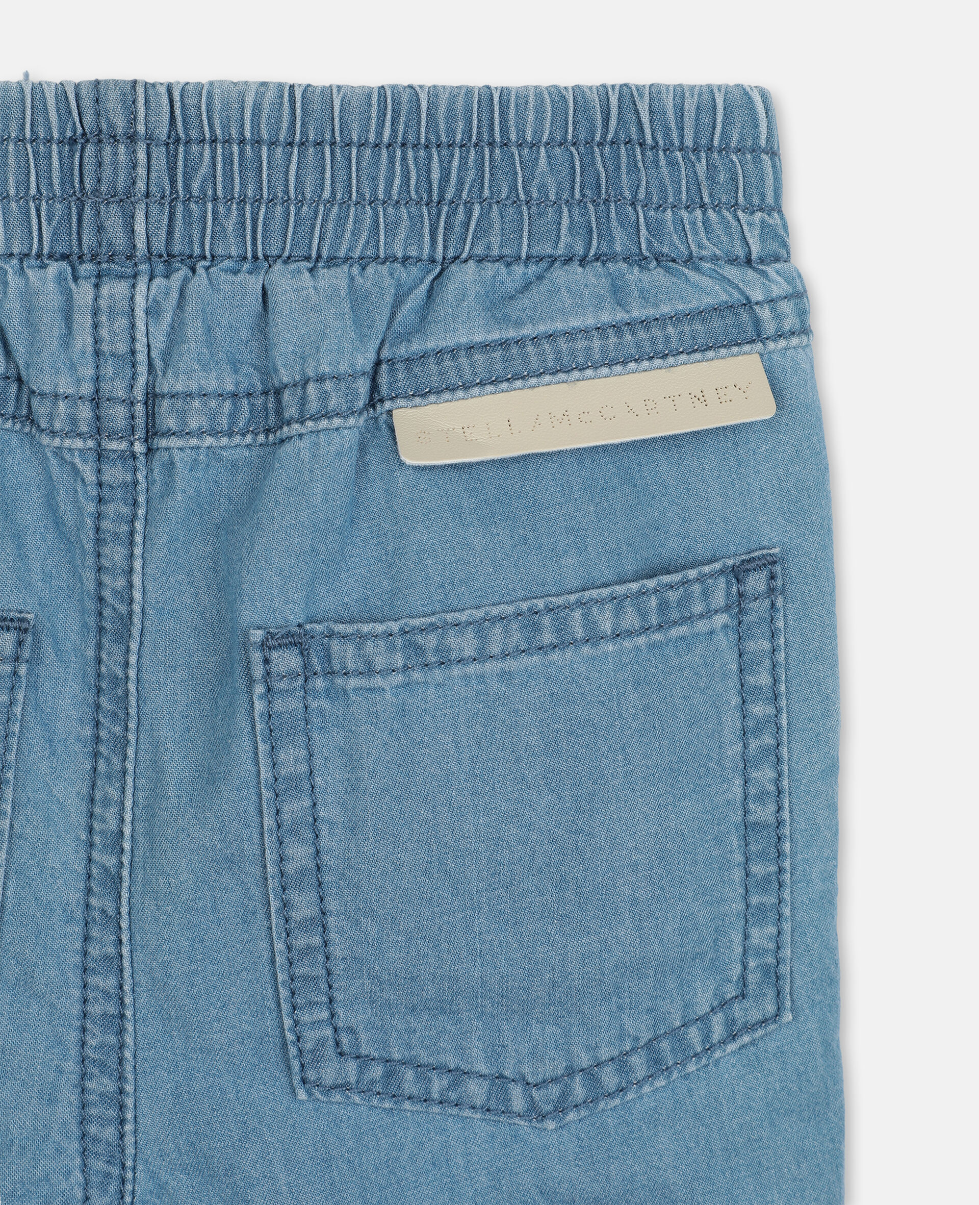 Pantaloni in Chambray con Gatti Ricamati-Blu-large image number 2