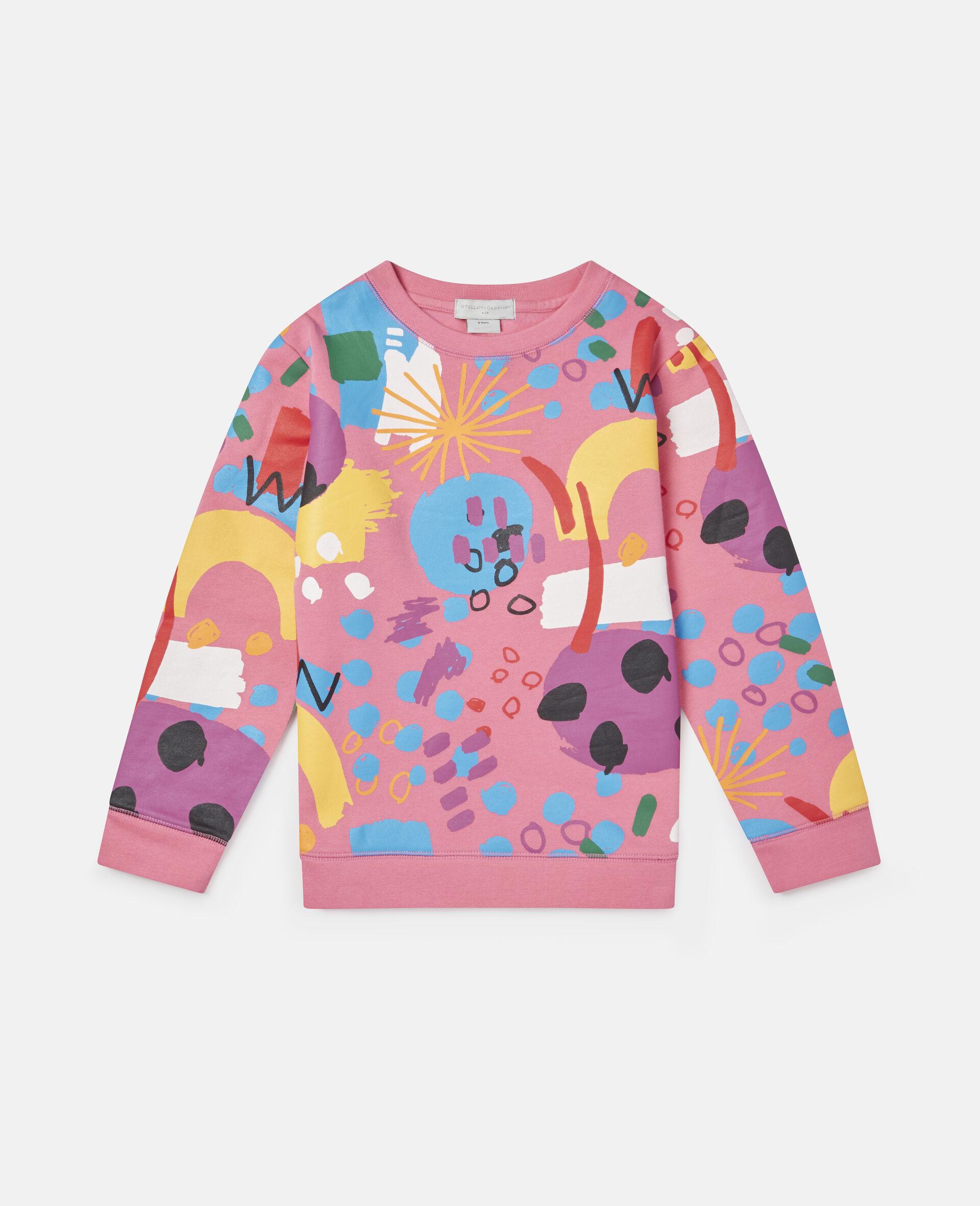 Sweatshirt aus Baumwollfleece mit Malerei-Print -Rose-large image number 0