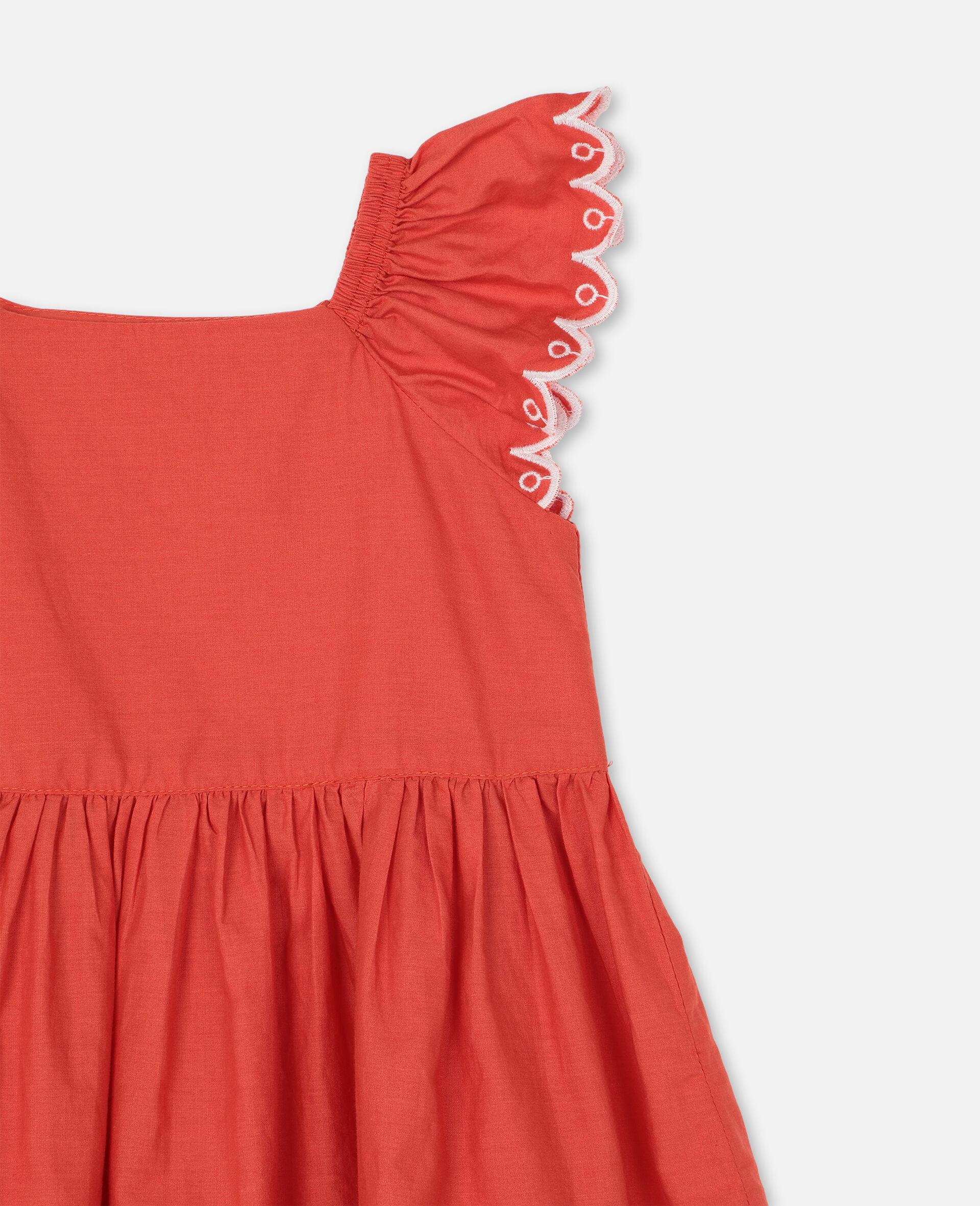 Kleid aus Baumwolle mit Muschelsaum-Rot-large image number 1