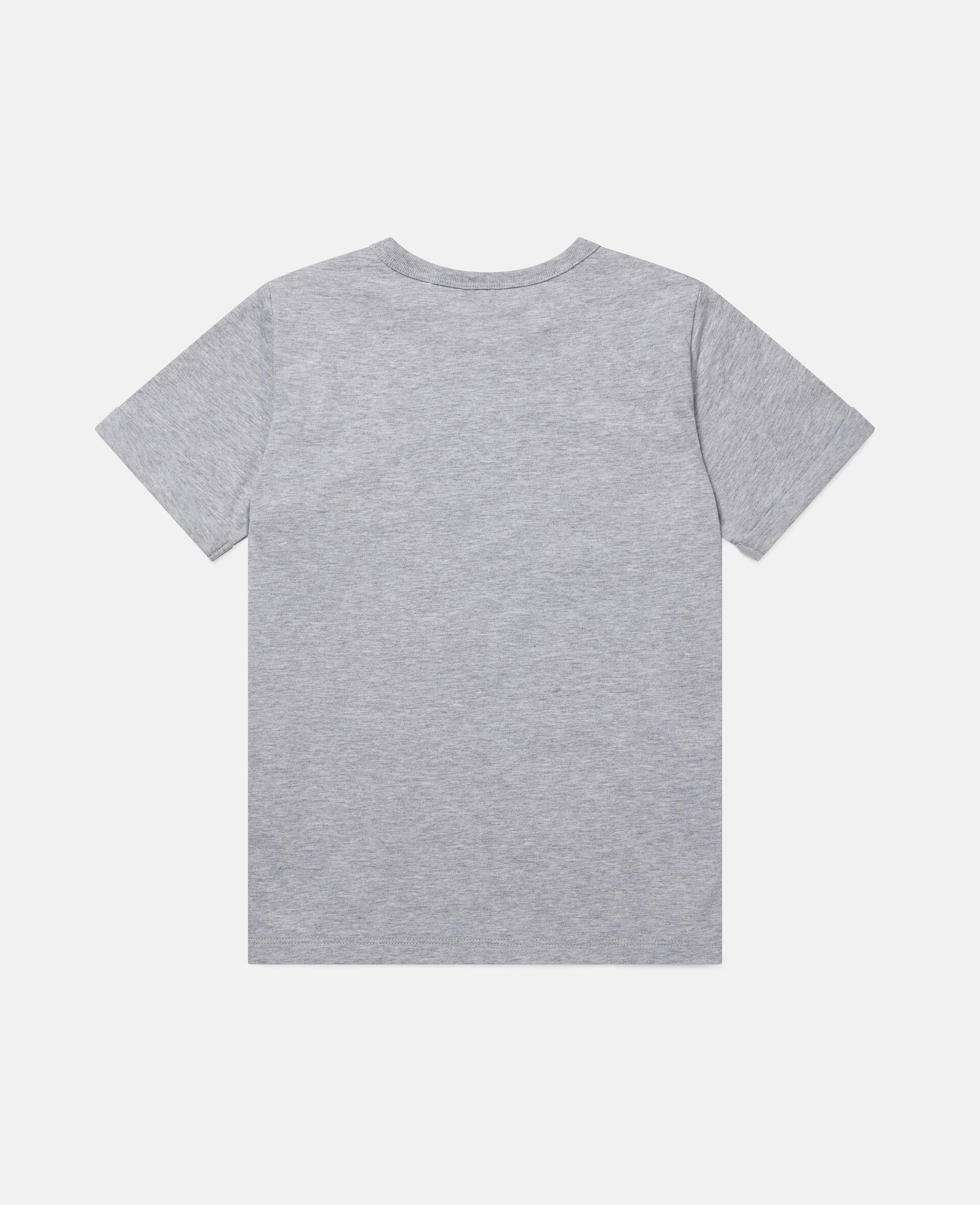 雏菊爱心印花棉质T恤-灰色-large image number 3