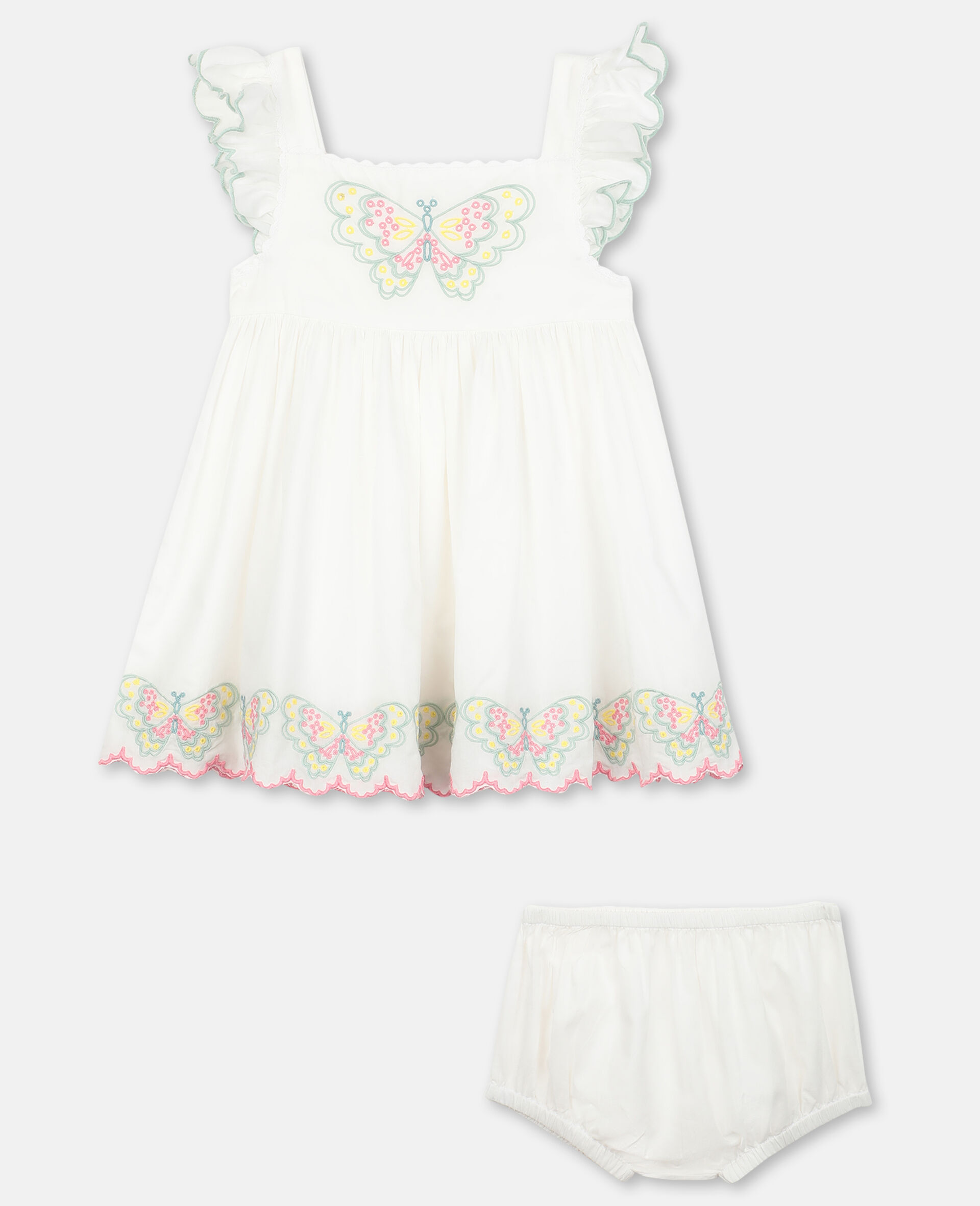 Vestito in Cotone con Farfalle Ricamate-Bianco-large image number 0