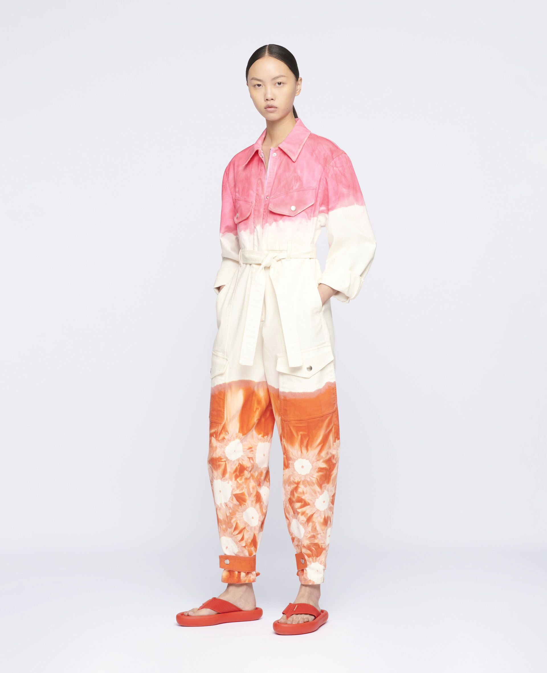 Fluo Wash Denim Jumpsuit-Multicolour-large image number 1