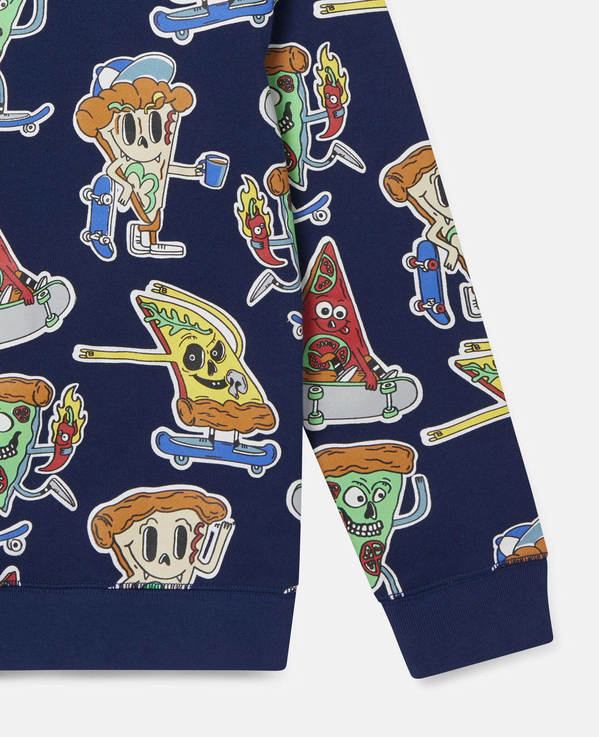 Fleece-Sweatshirt mit Pizza-Skater-Motiv-Blau-large image number 2