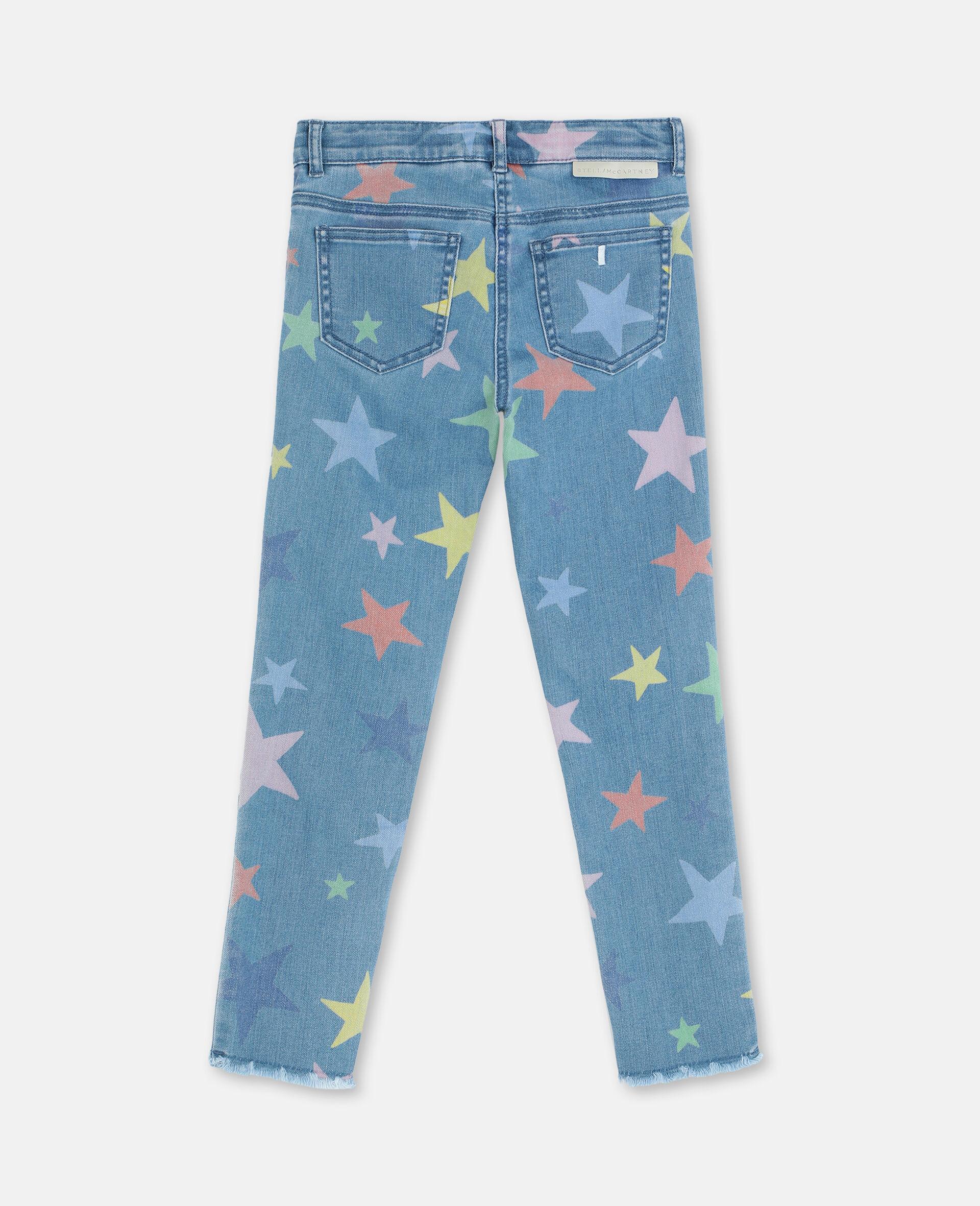 Multicolor Stars Skinny Denim Pants-Multicoloured-large image number 3