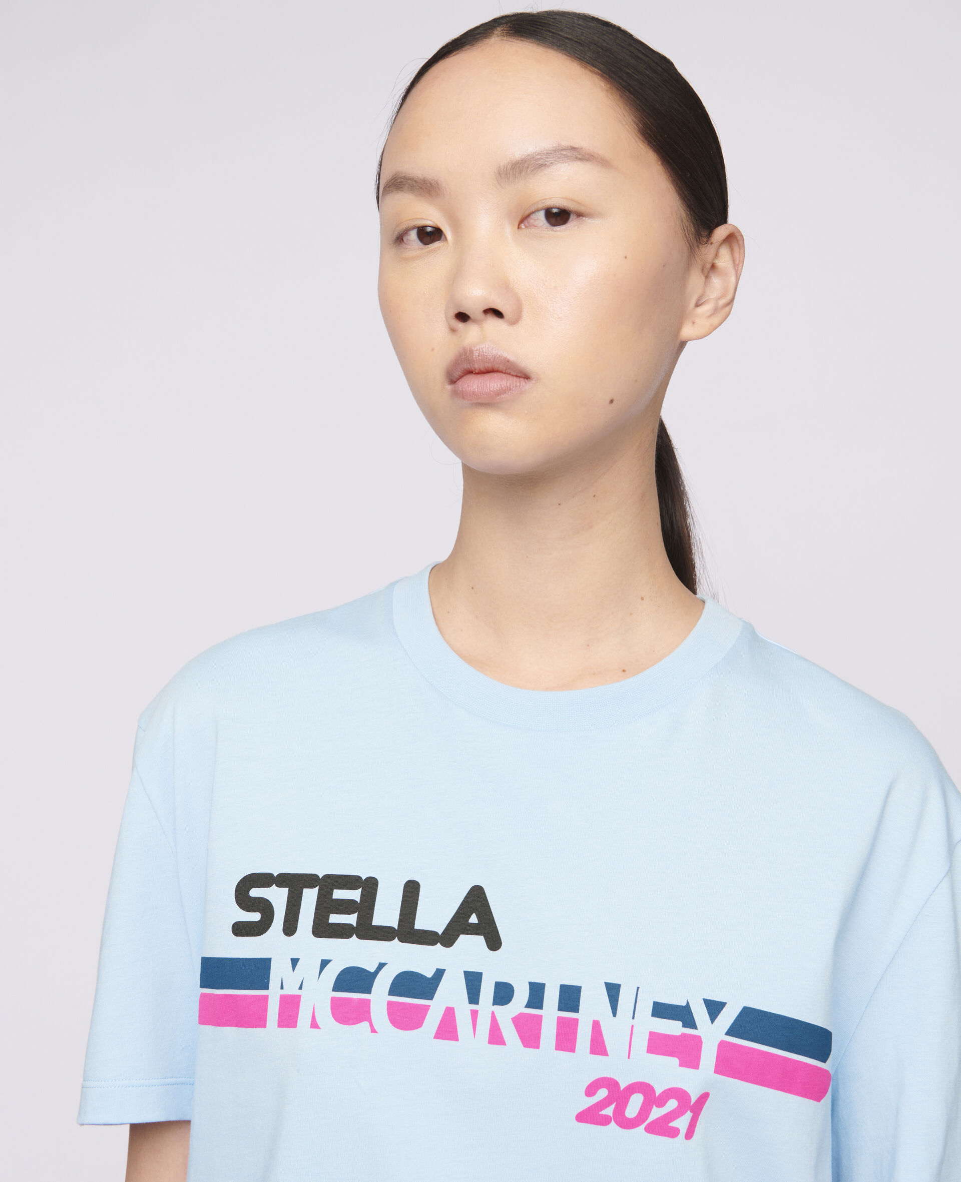 Stella McCartney 2021 T-Shirt mit Logo-Blau-large image number 3