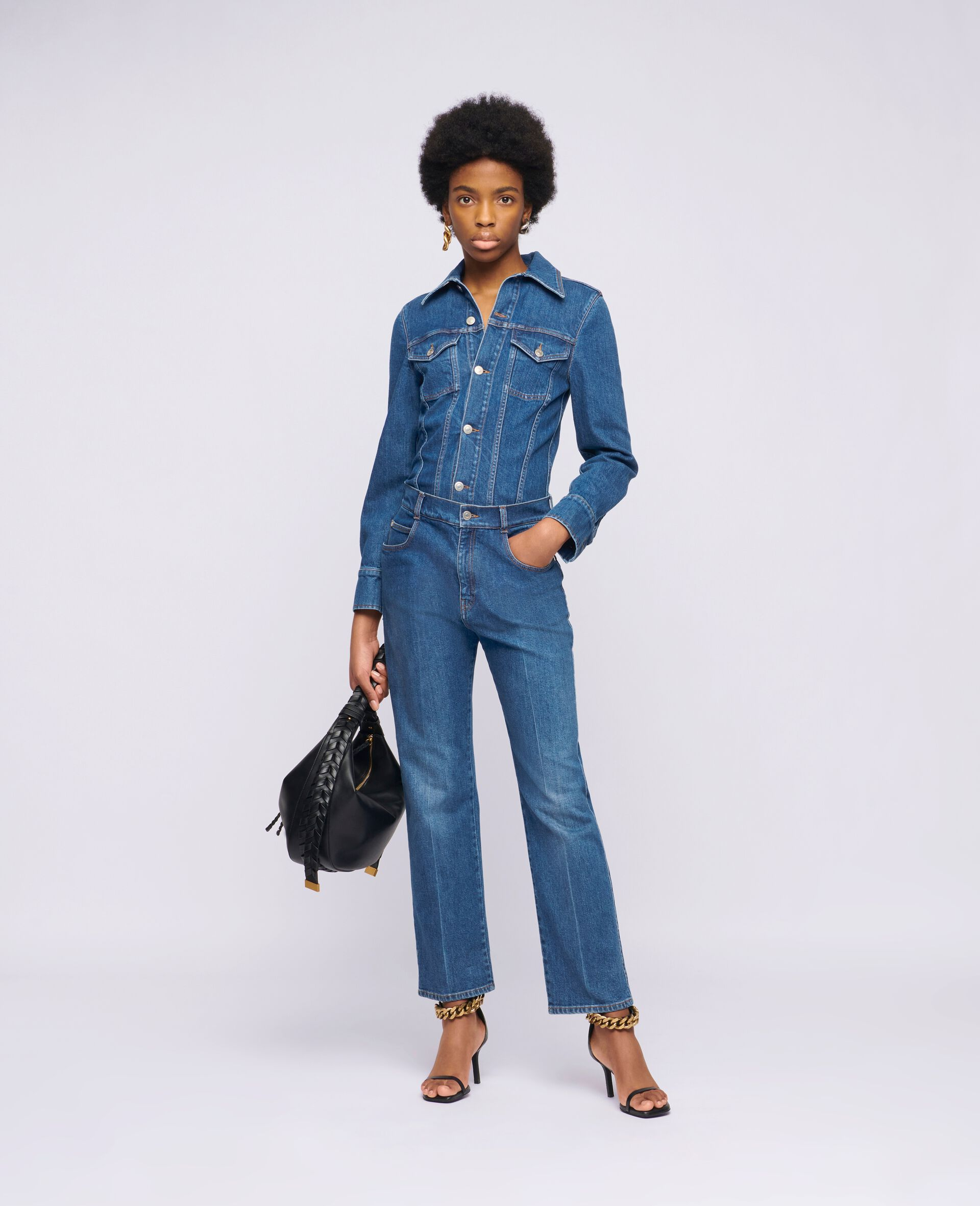 Denim-Jumpsuit in Vintage-Wäsche -Blau-large image number 1