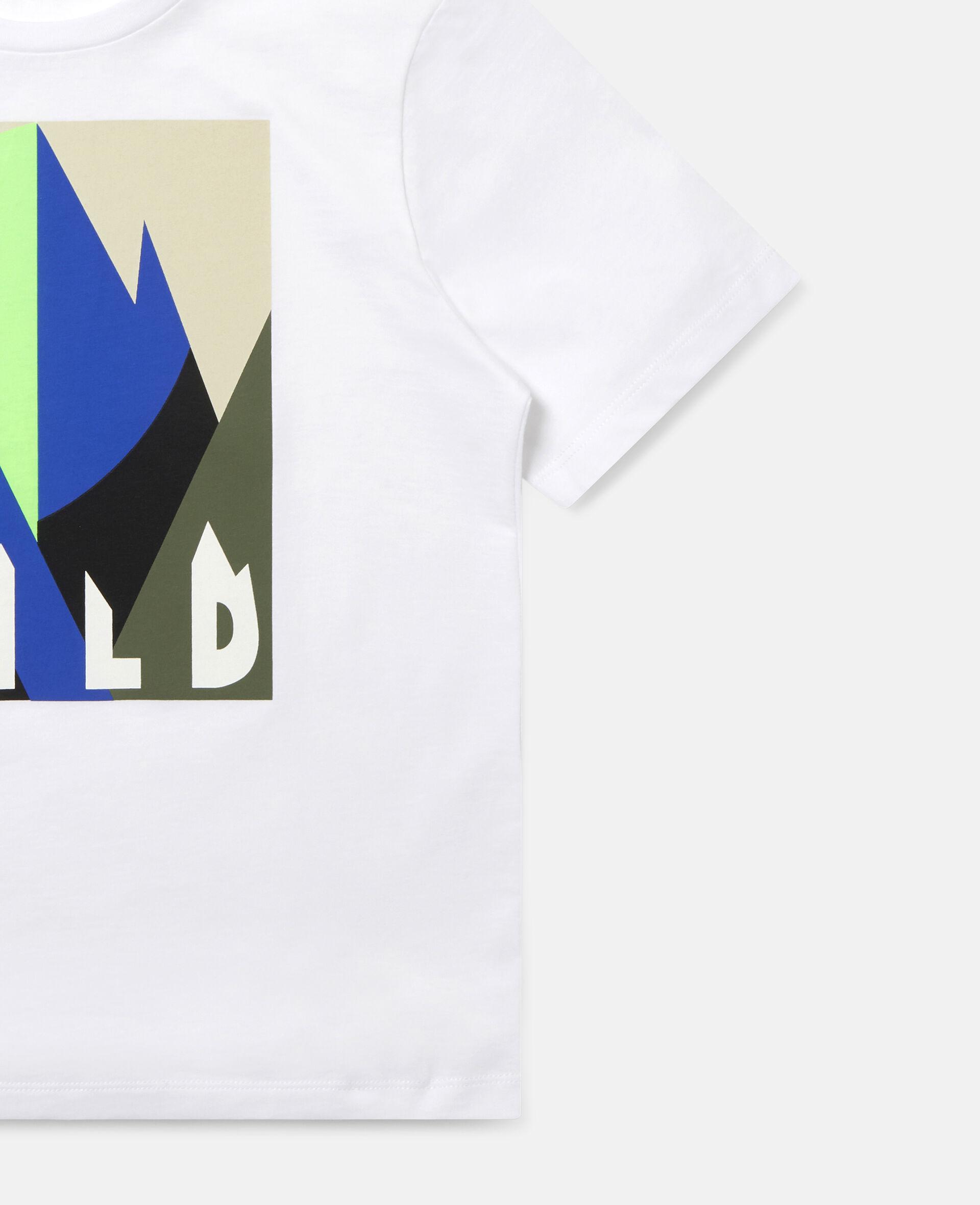 Übergroßes T-Shirt mit grafischem Bergmotiv-Weiß-large image number 1