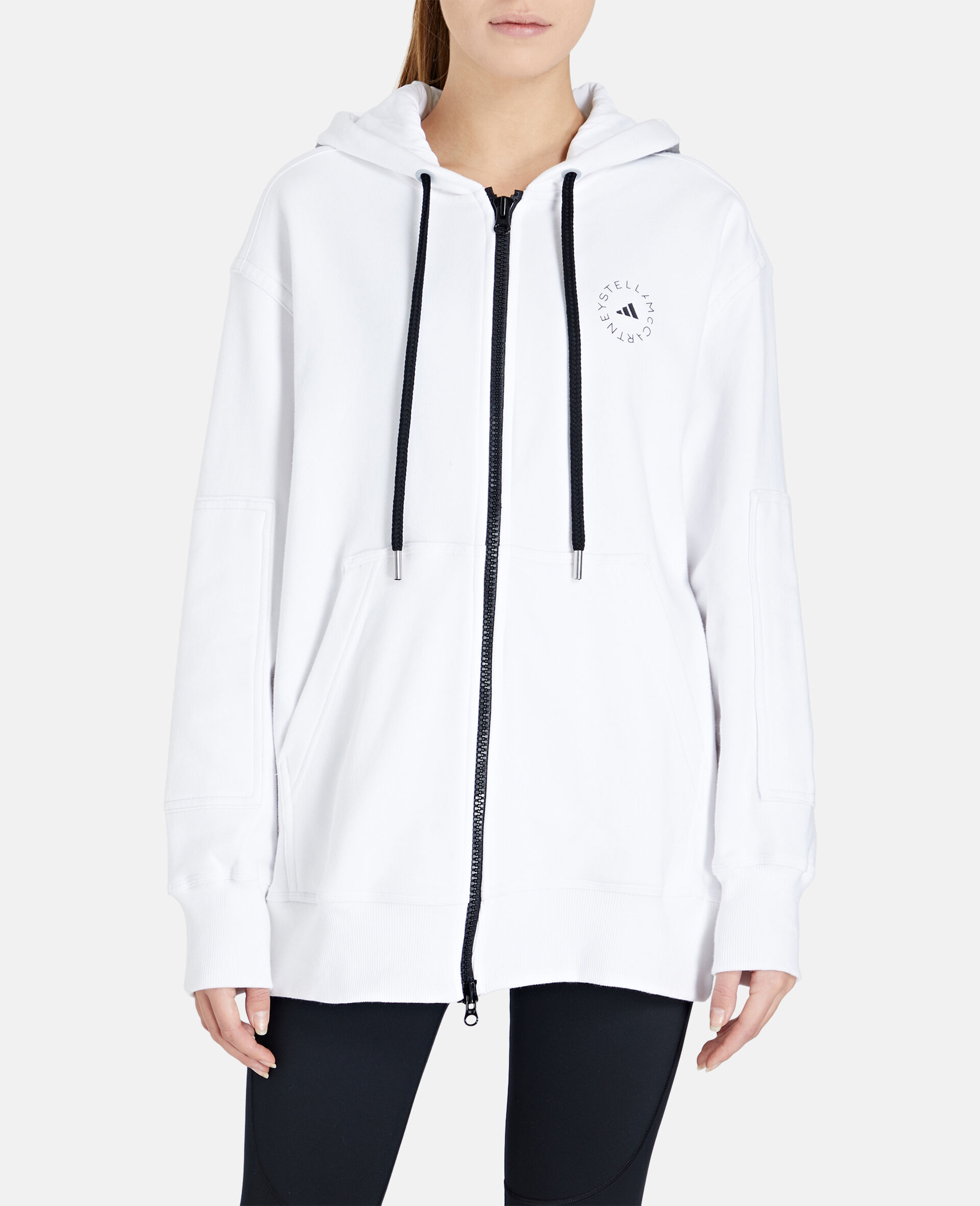 White Full-zipper Hoodie-White-large image number 4