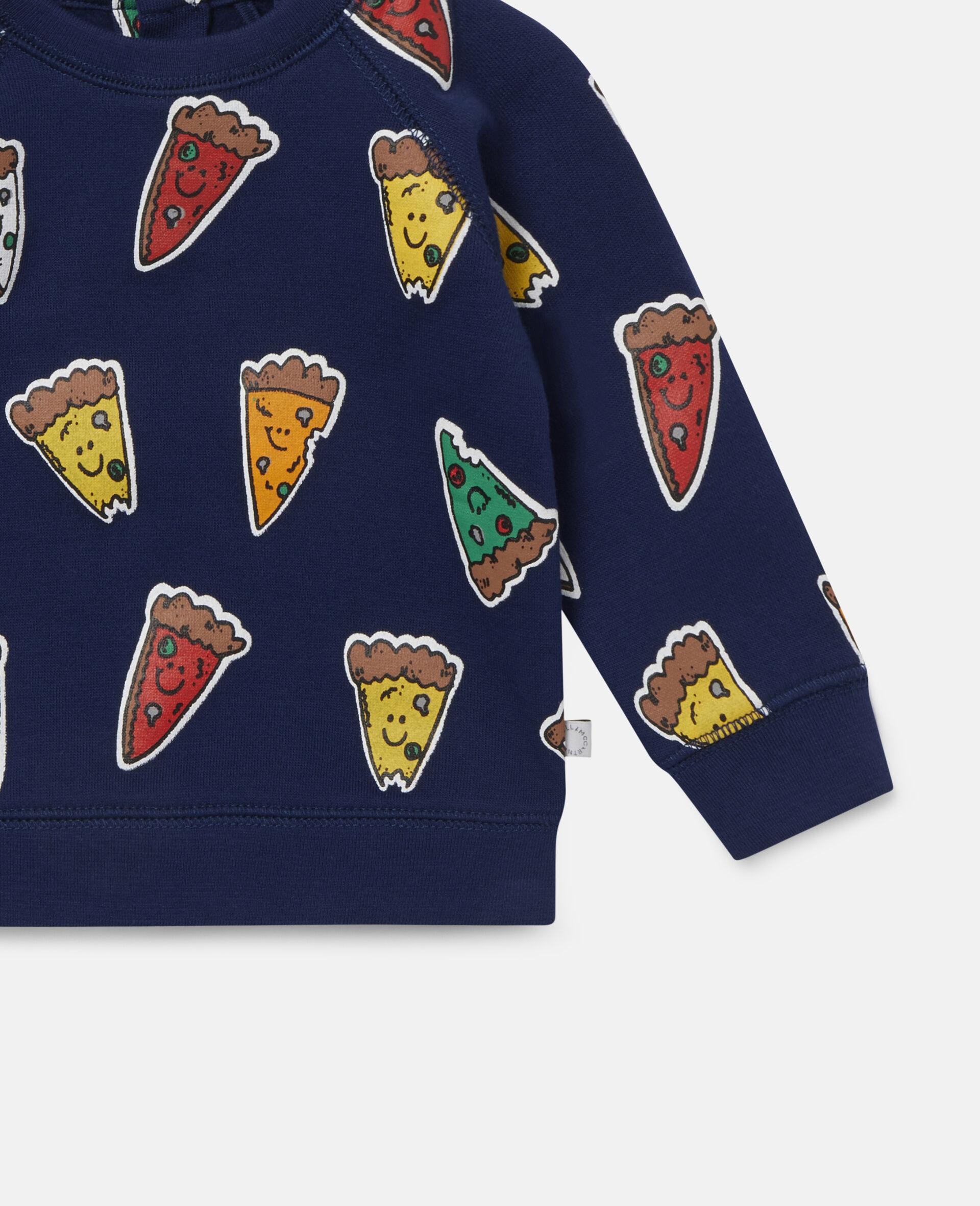 Fleece-Sweatshirt mit Pizzamotiv-Blau-large image number 2