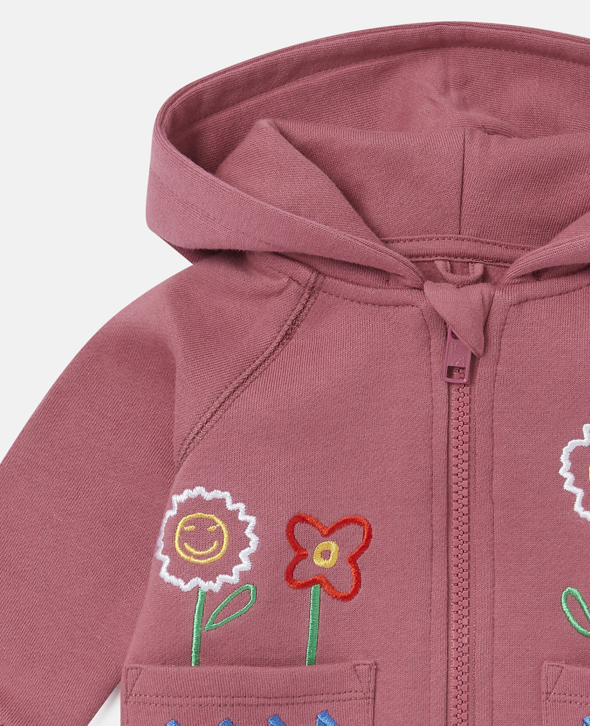 Sweat-shirt à capuche en polaire motifs jardin-Rouge-large image number 2