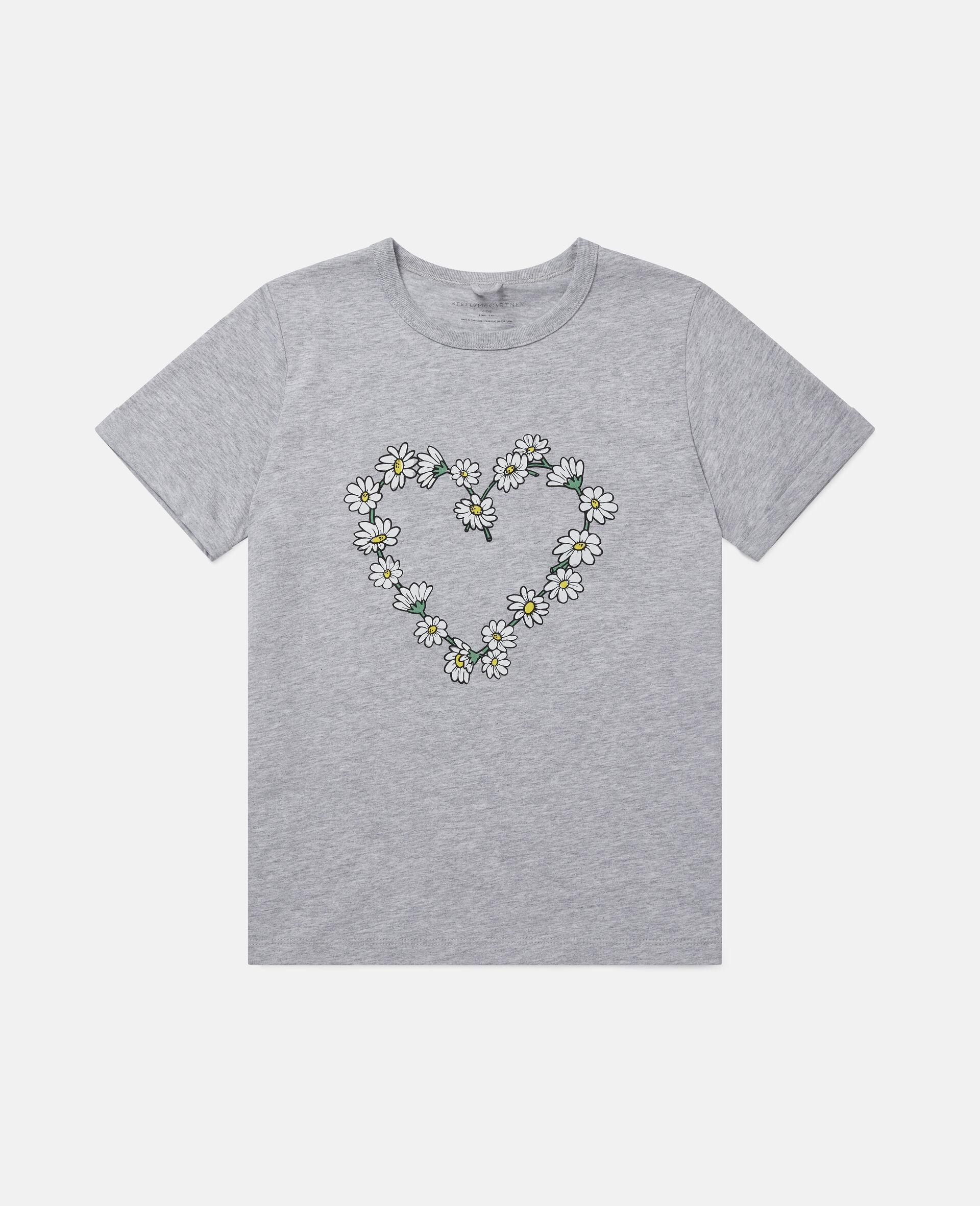 Haut en coton motif cœur en marguerites-Gris-large image number 0