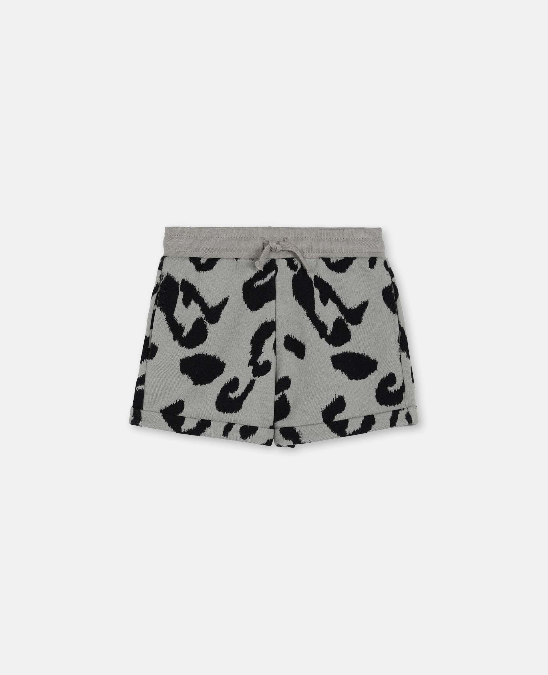 Baumwollfleece-Shorts mit Leoparden-Print-Bunt-large image number 0