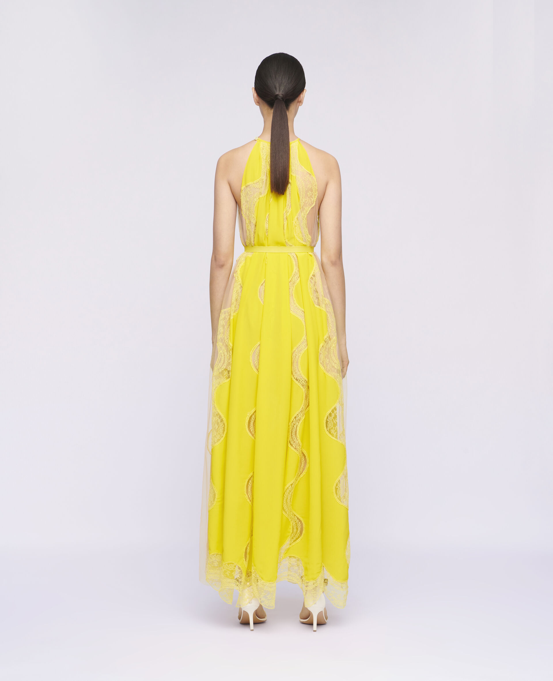Abito Tiffany in Pizzo -Giallo-large image number 2