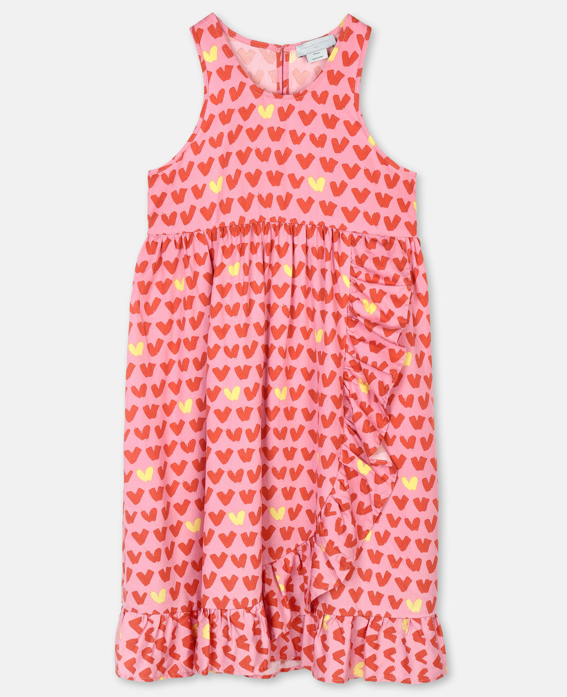 Hearts Viscose Twill Dress-Pink-large image number 0