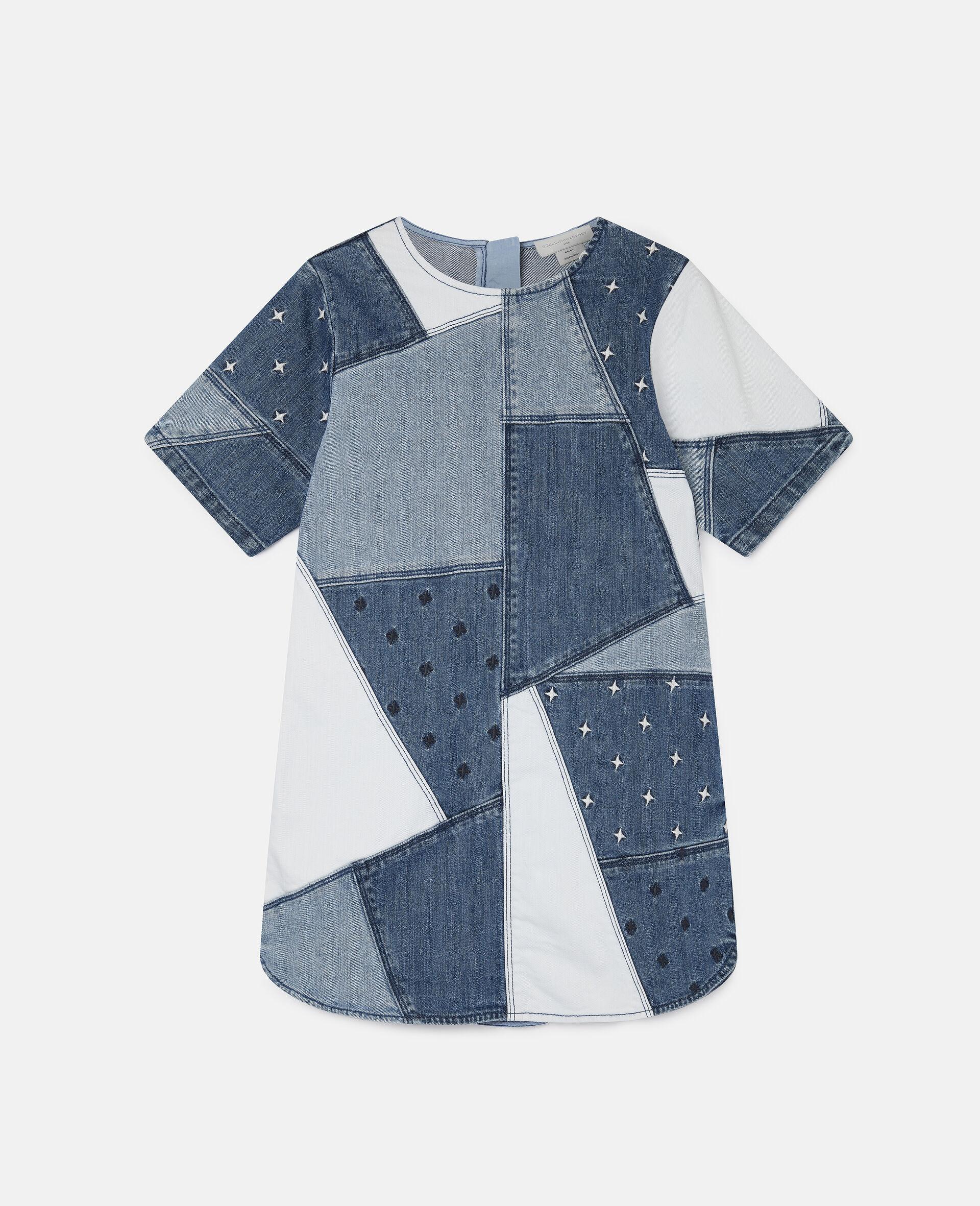 Embroidered Stars Patchwork Denim Dress-Blue-large image number 0