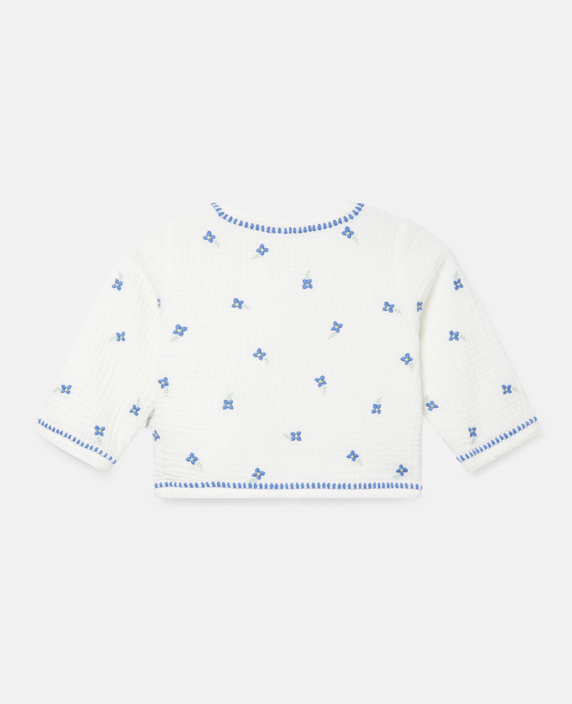 Veste en coton à fleurs brodées-Blanc-large image number 3