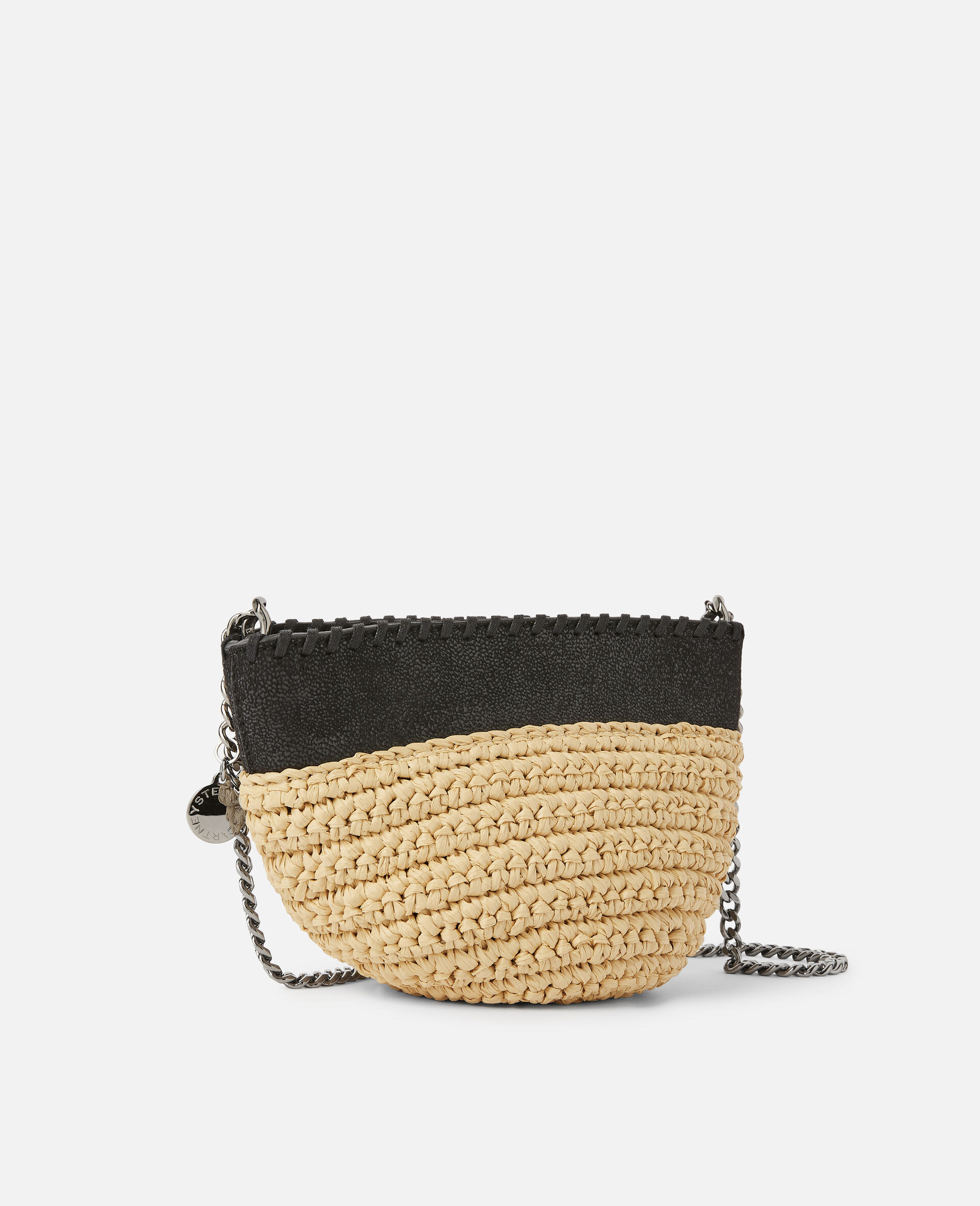 Falabella Raffia Mini Shoulder Bag  -Black-large image number 1