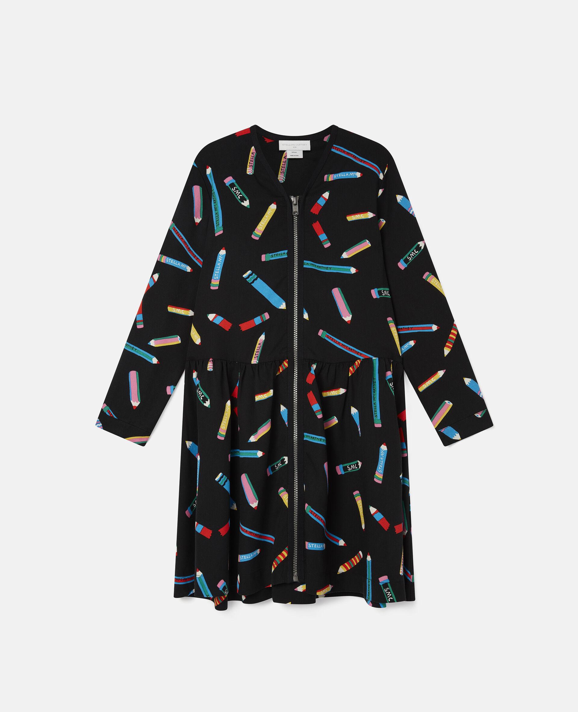 Robe en sergé motif crayons -Noir-large image number 0