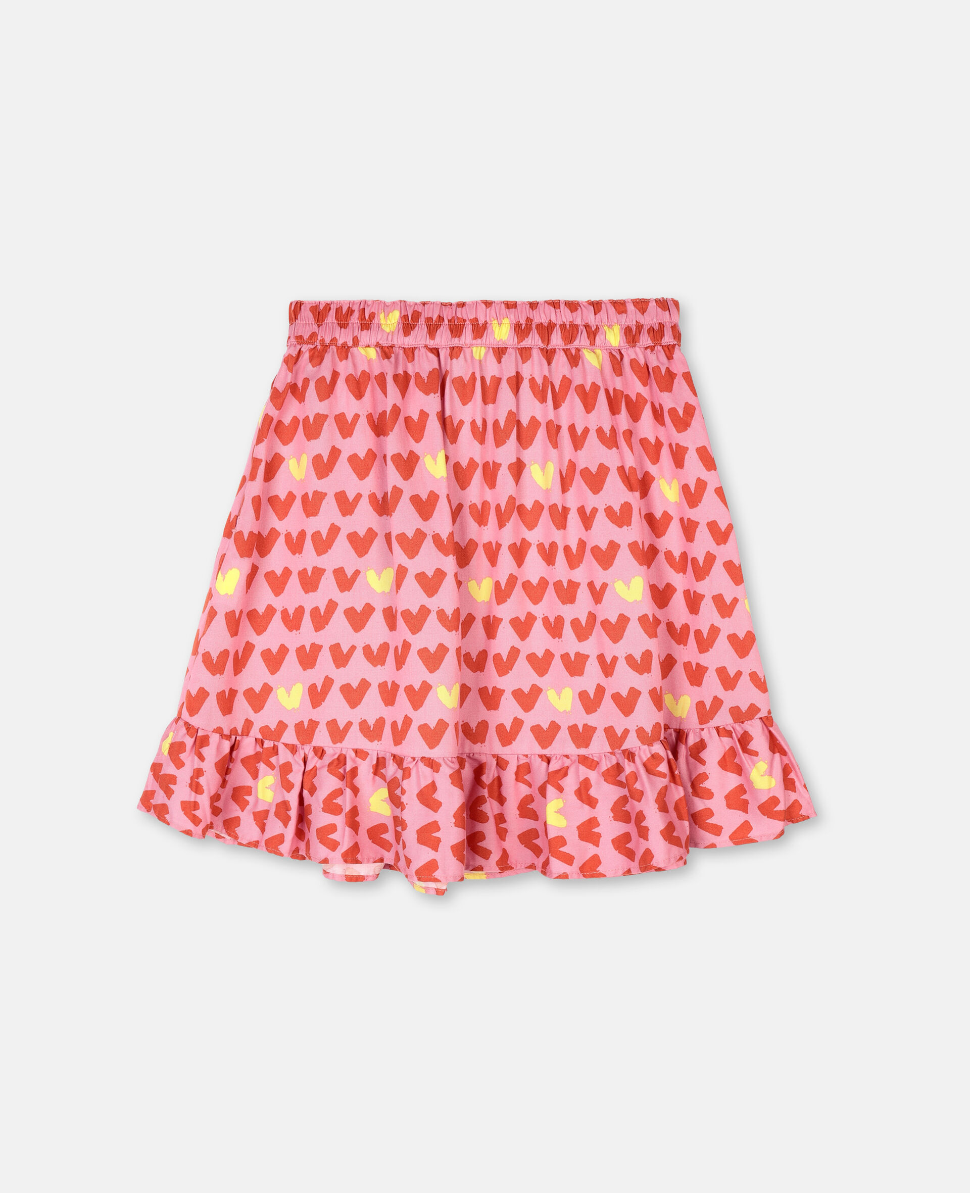 Hearts Viscose Twill Skirt -Pink-large image number 3
