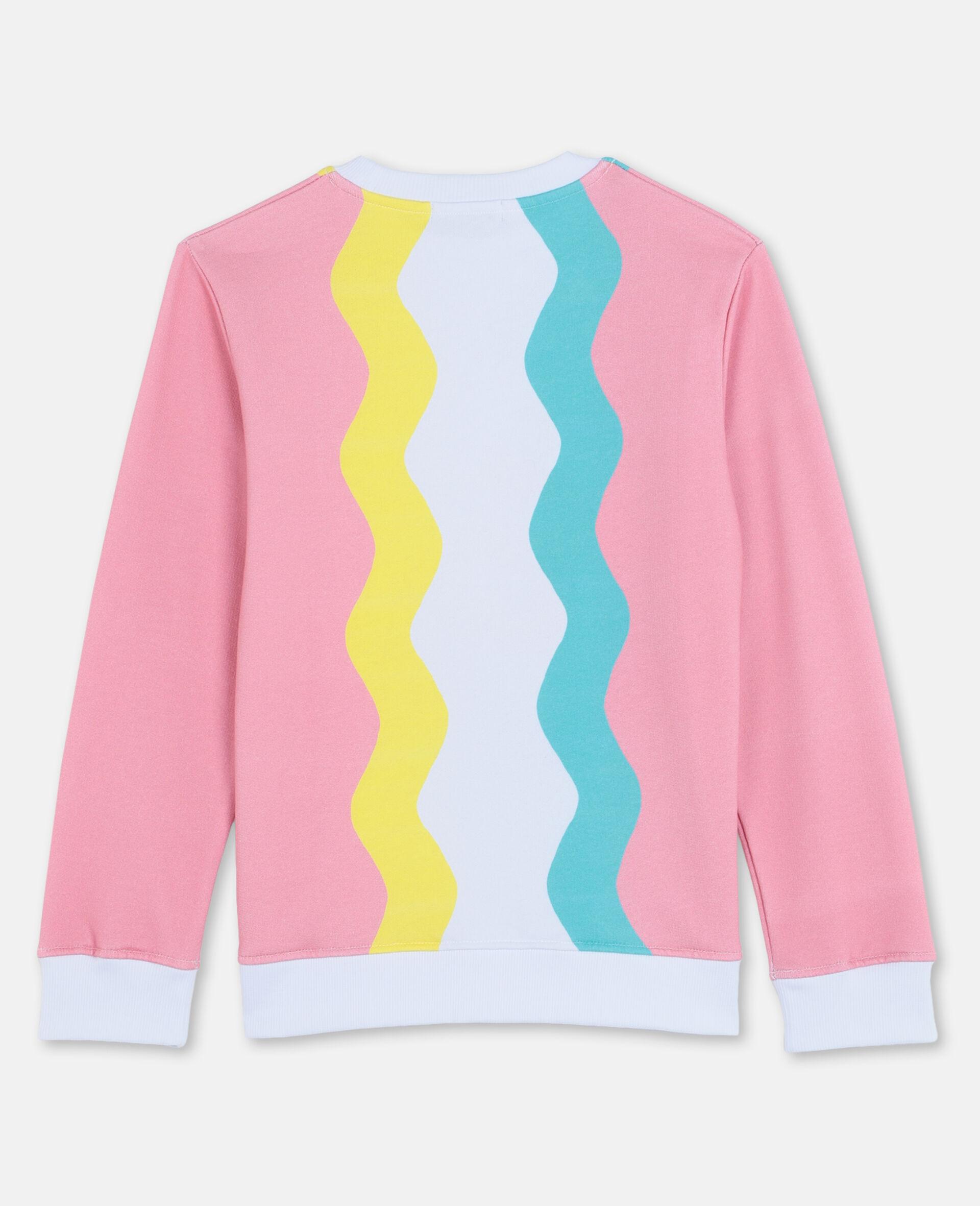 Swiggle Oversize Cotton Fleece Sweatshirt-White-large image number 3