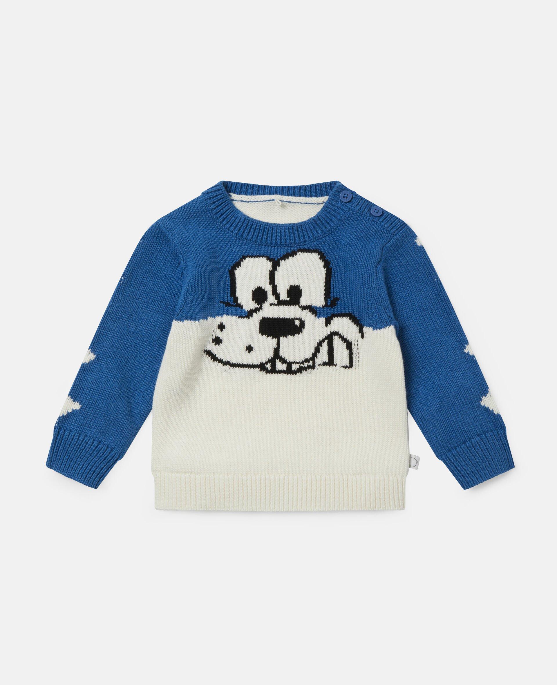 Doodle Dog Knit Intarsia Jumper-White-large image number 0