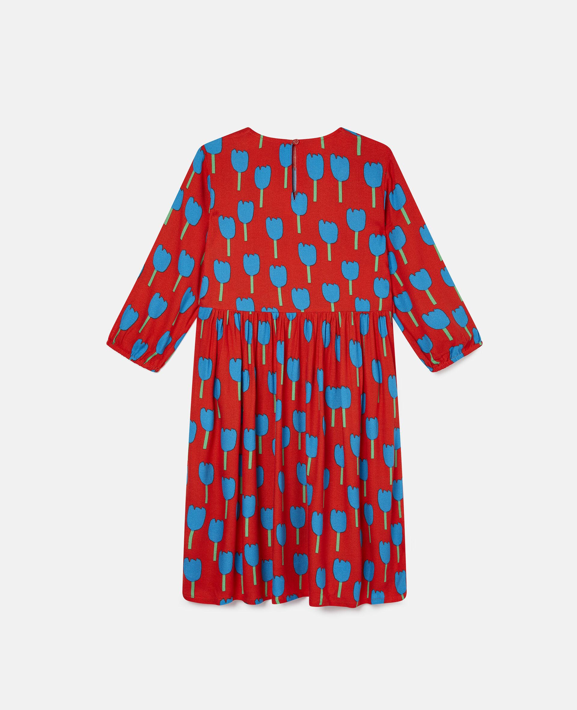Robe en crêpe de viscose motif tulipes-Rouge-large image number 3