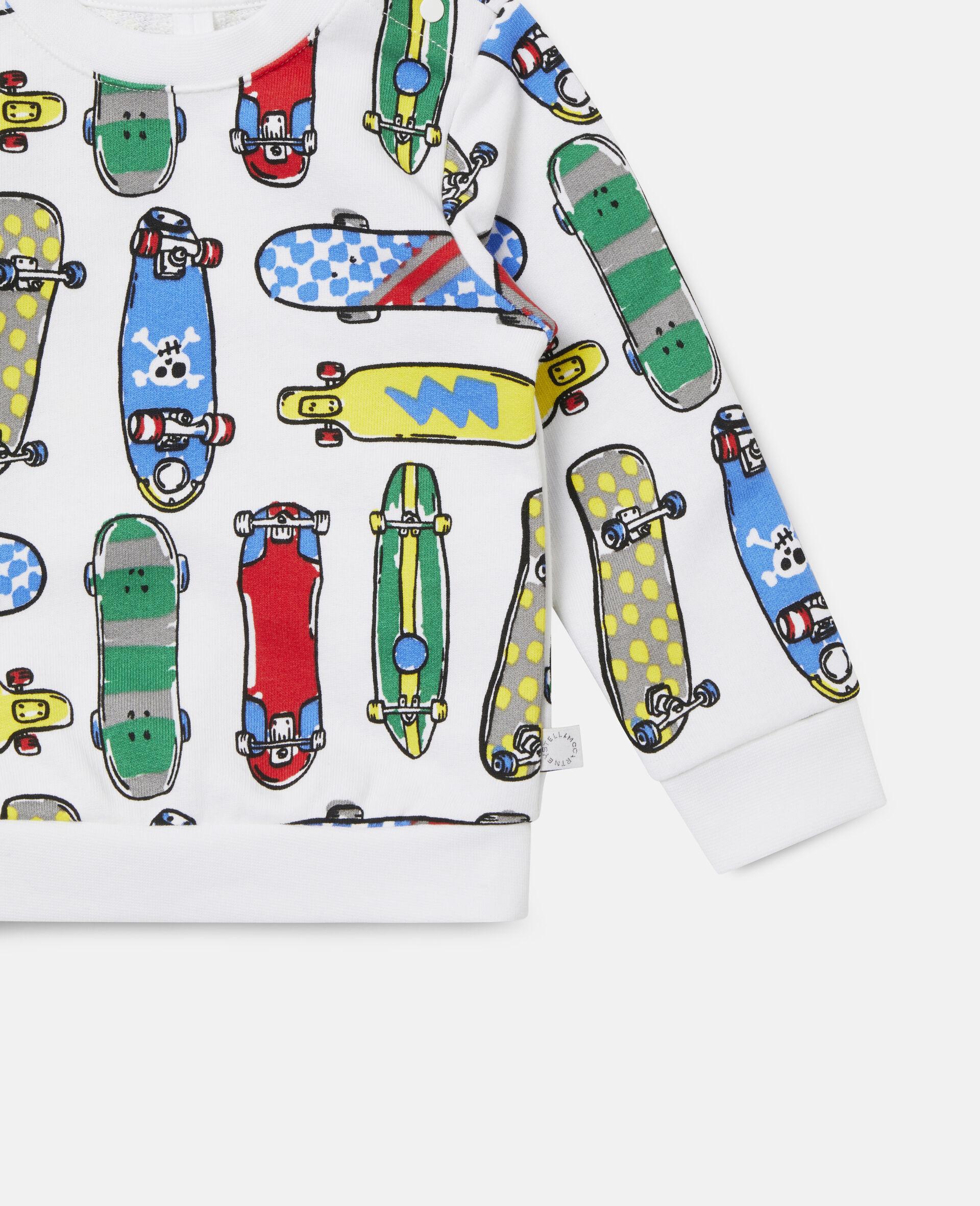Fleece-Sweatshirt mit Skateboardmotiv-Weiß-large image number 2