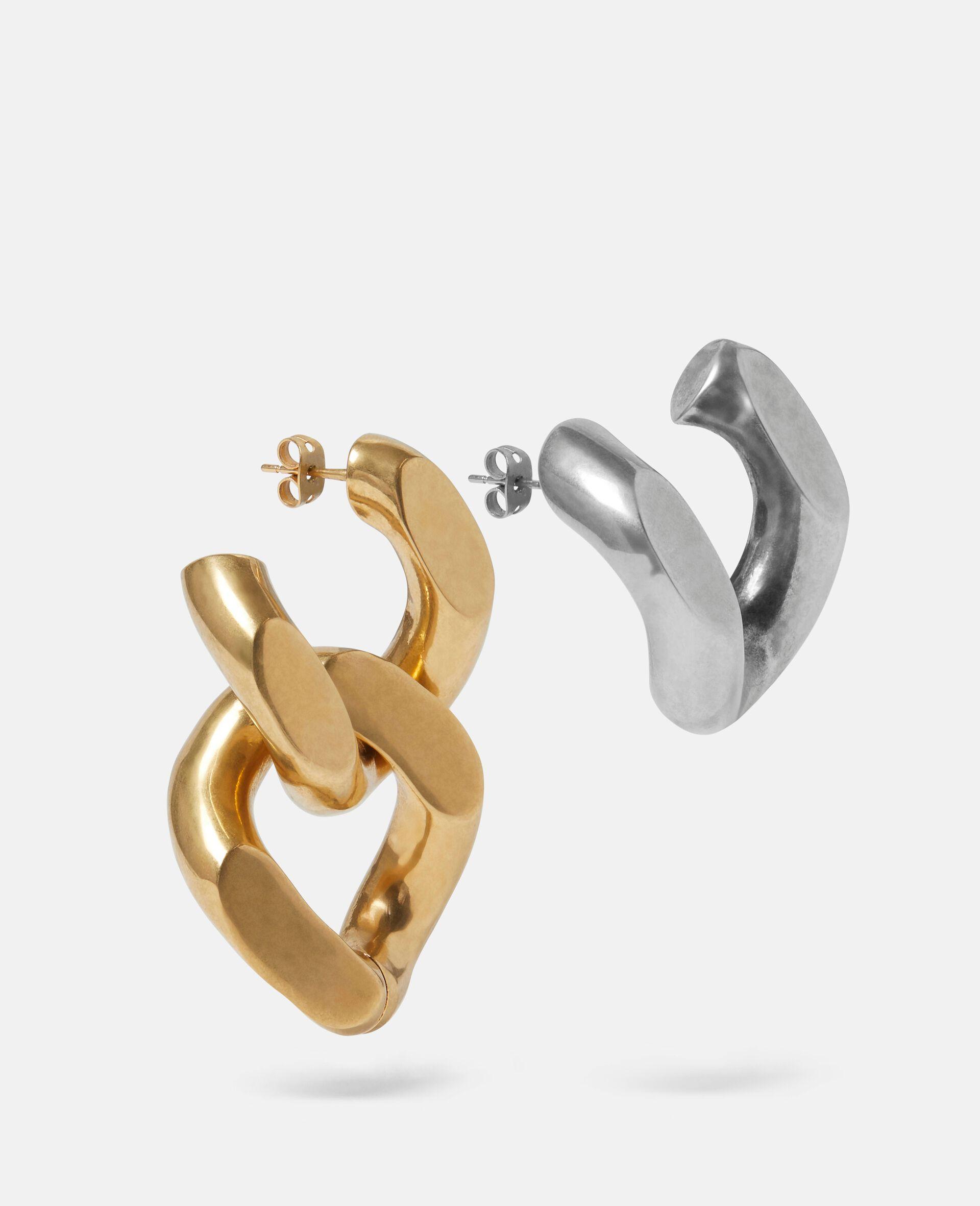 Brass & Aluminium Earrings-Yellow-large image number 0
