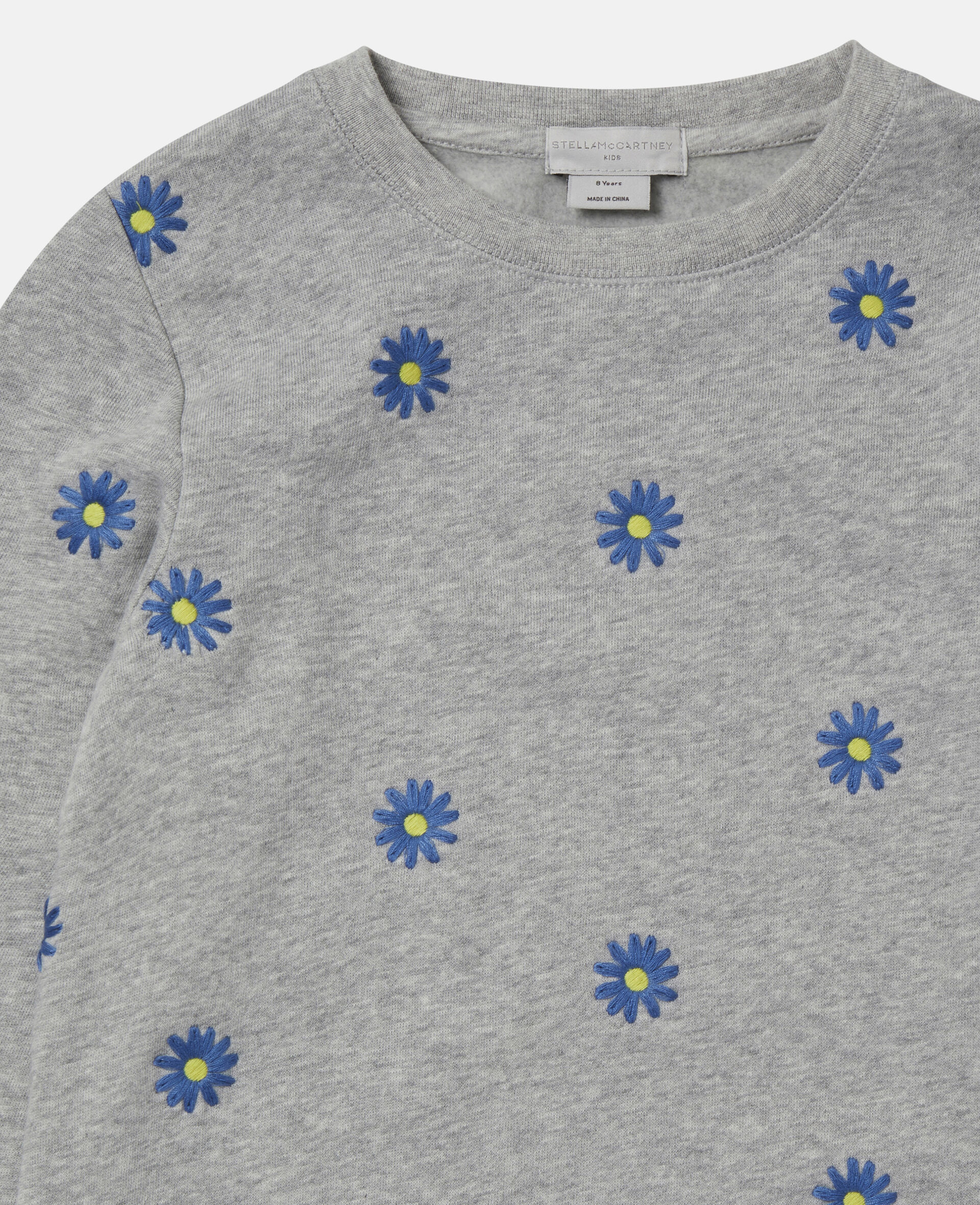Embroidered Daisies Cotton Fleece Sweatshirt -Grey-large image number 1