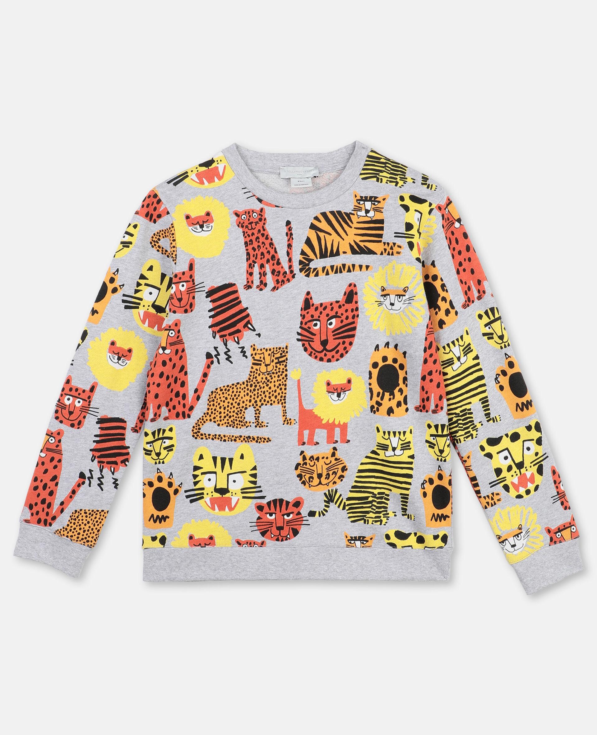 Baumwollsweatshirt mit Wildkatzen-Print -Bunt-large image number 0