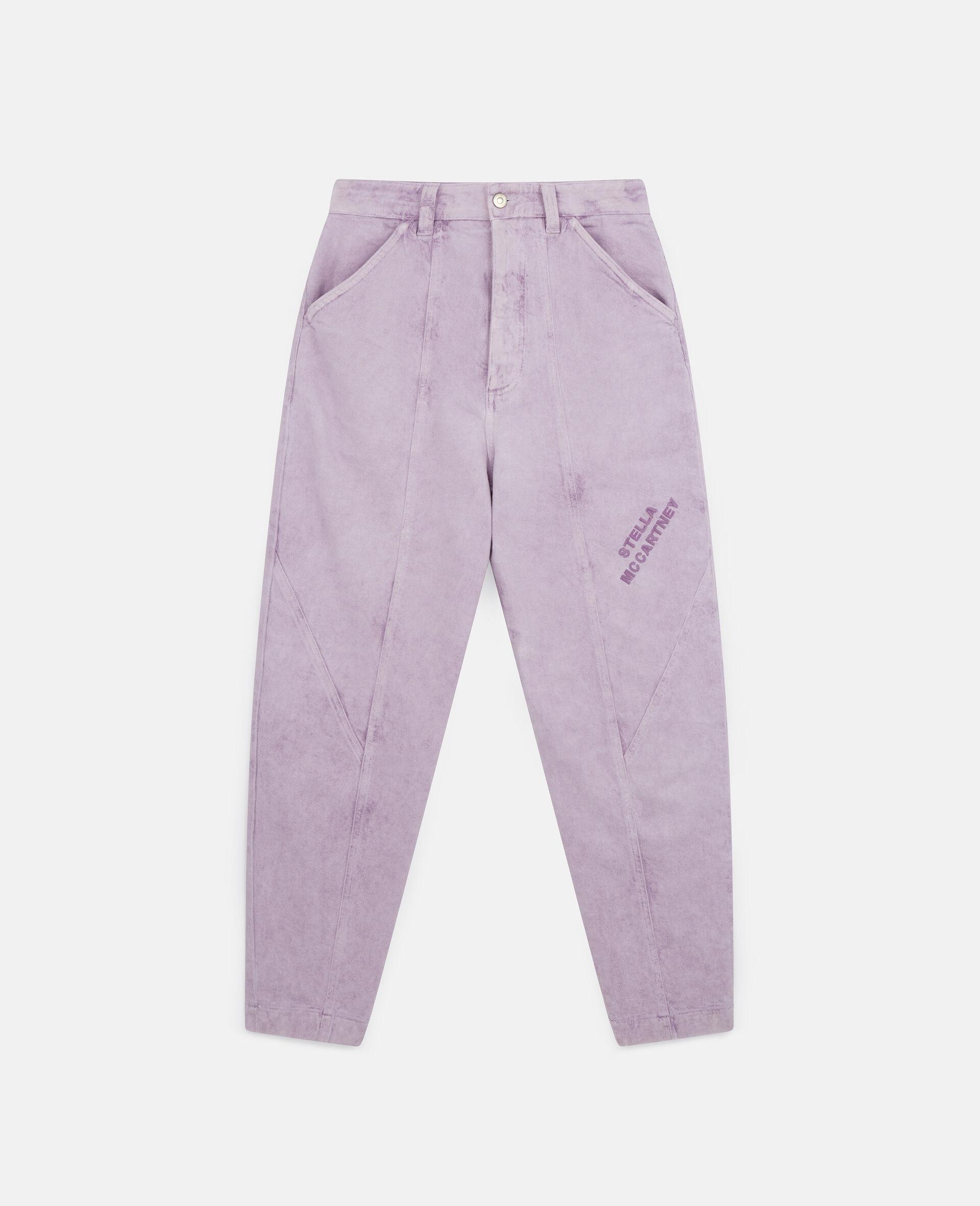 Cropped Denim Pants-Purple-large image number 0