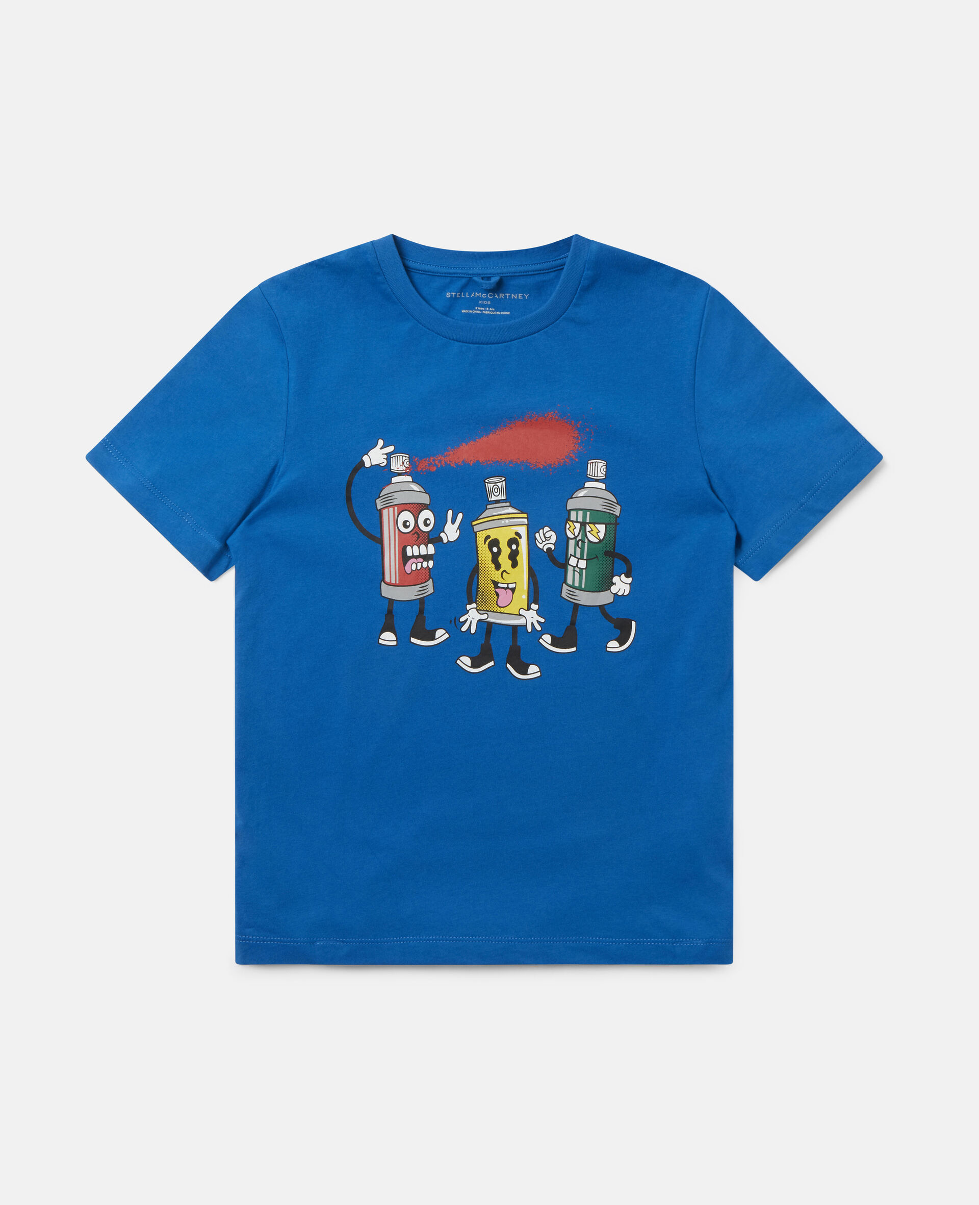 """T-Shirt aus Baumwolle mit """"Spray Gang""""-Print-Blau-large image number 0"""
