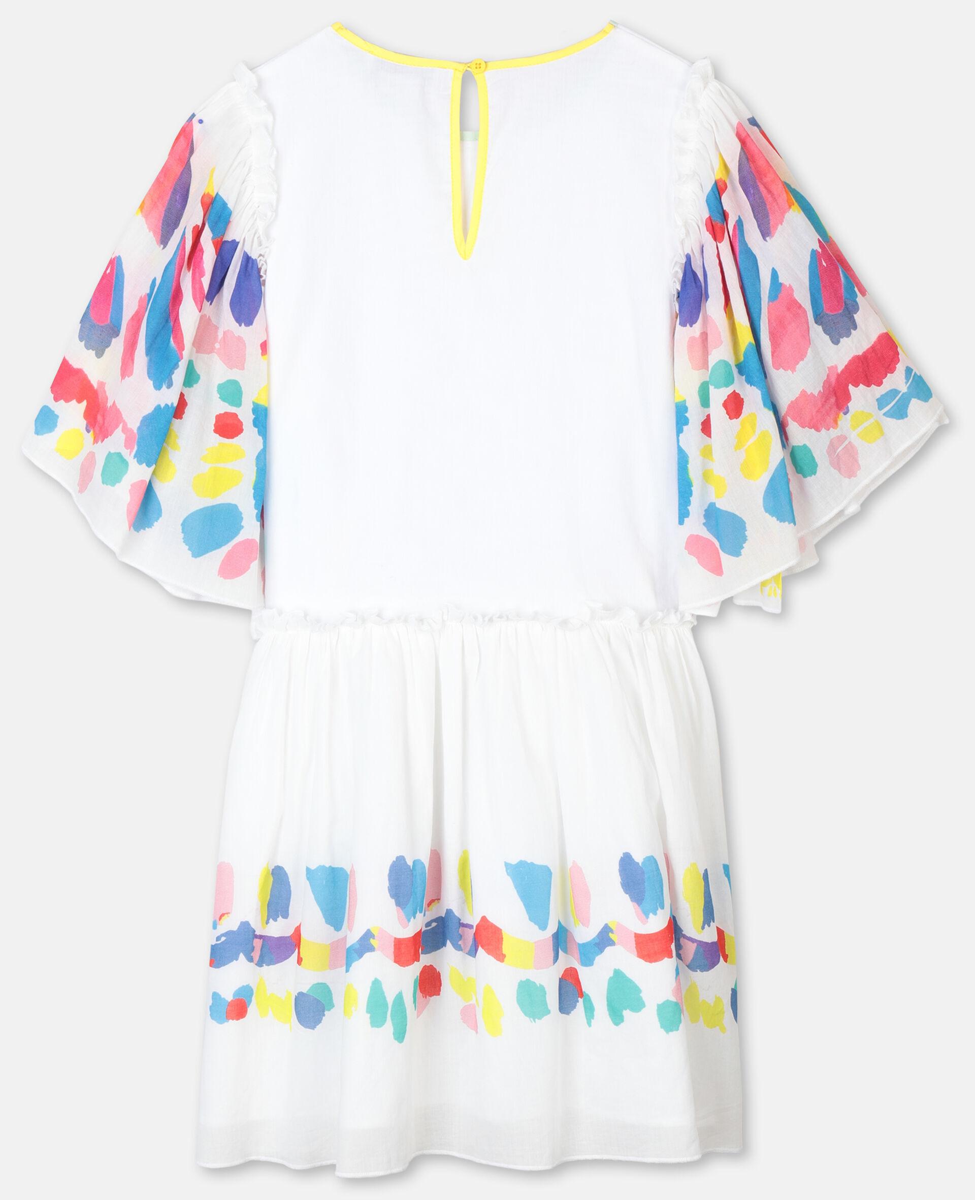 Weites Baumwollkleid mit Schmetterlingen-Weiß-large image number 3