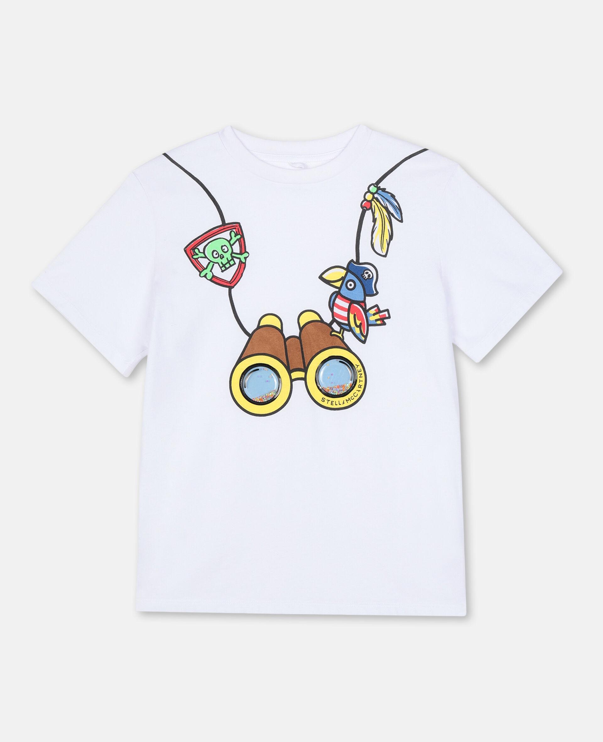 Baumwoll-T-Shirt mit 3D-Fernglas-Print -Weiß-large image number 0
