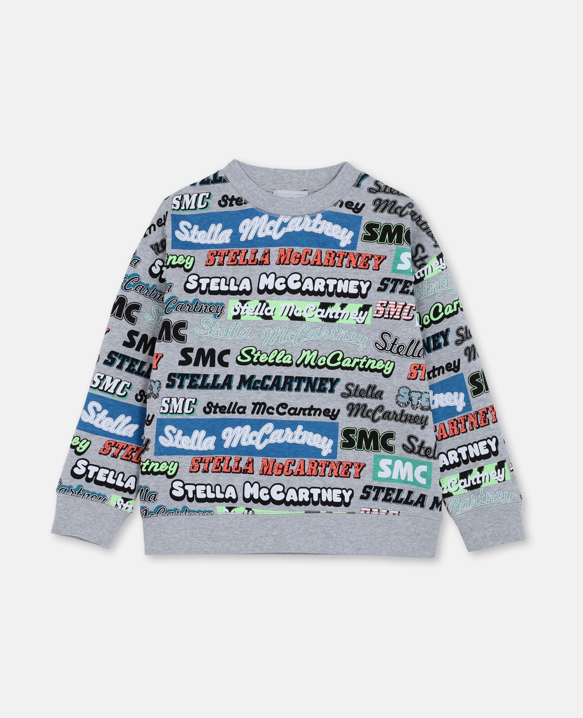 ロゴ オーバーサイズ コットン スポーツ スウェットシャツ -グレー-large image number 0