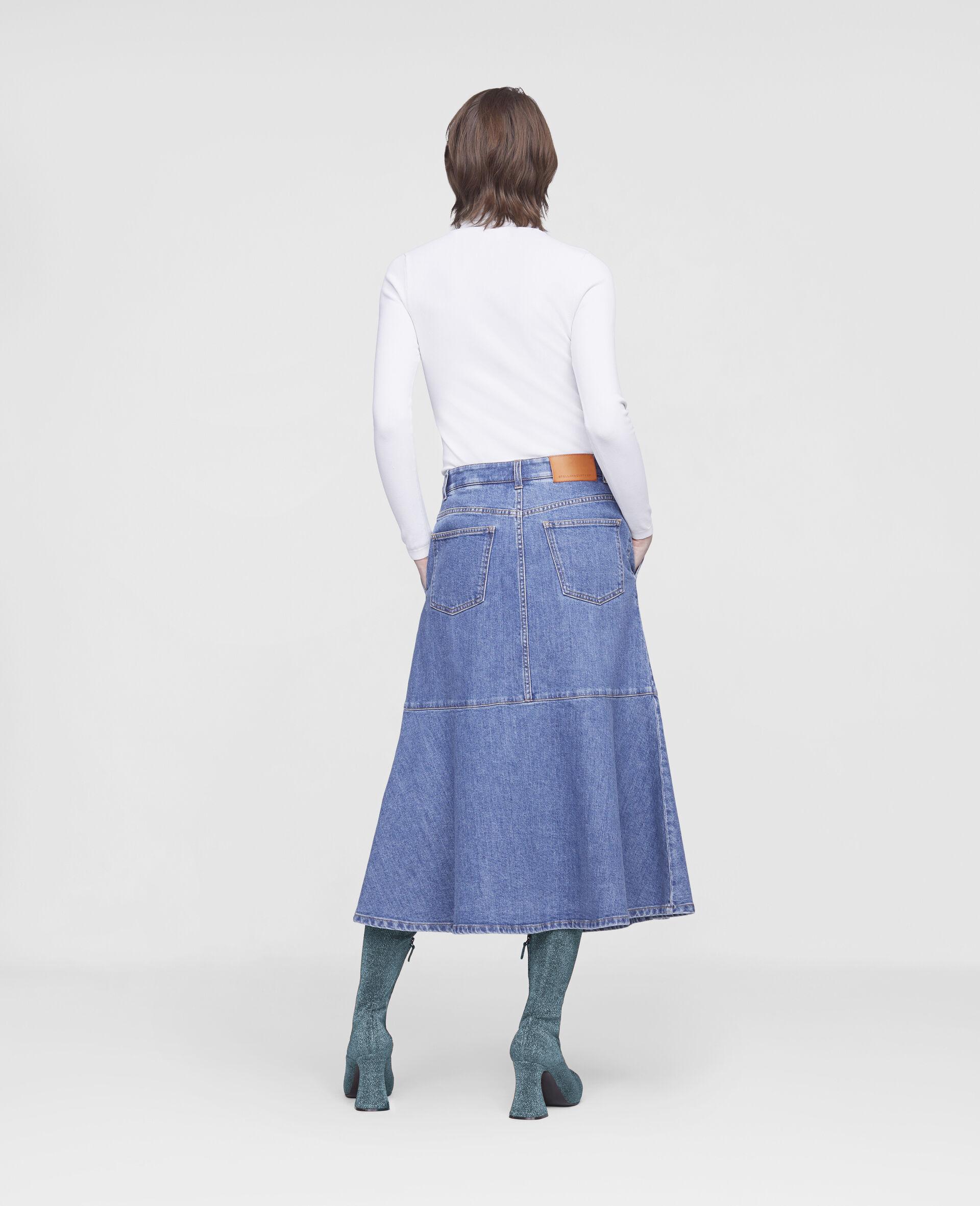 Flared Denim Skirt -Blue-large image number 2