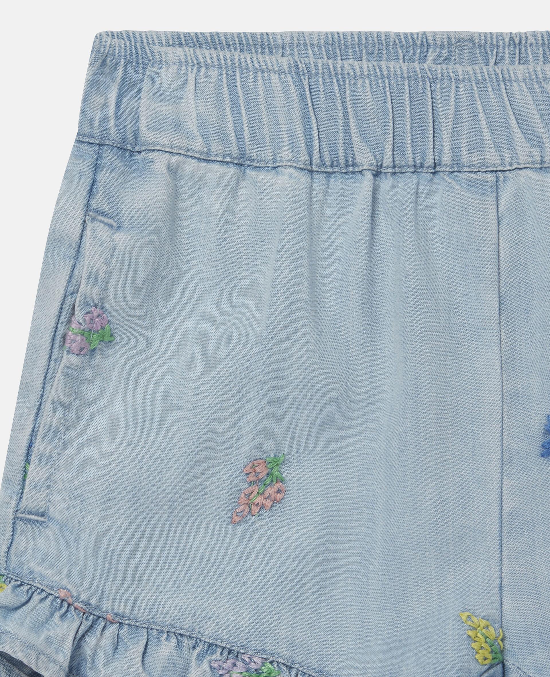 Shorts in Denim con Fiori Ricamati-Blu-large image number 1