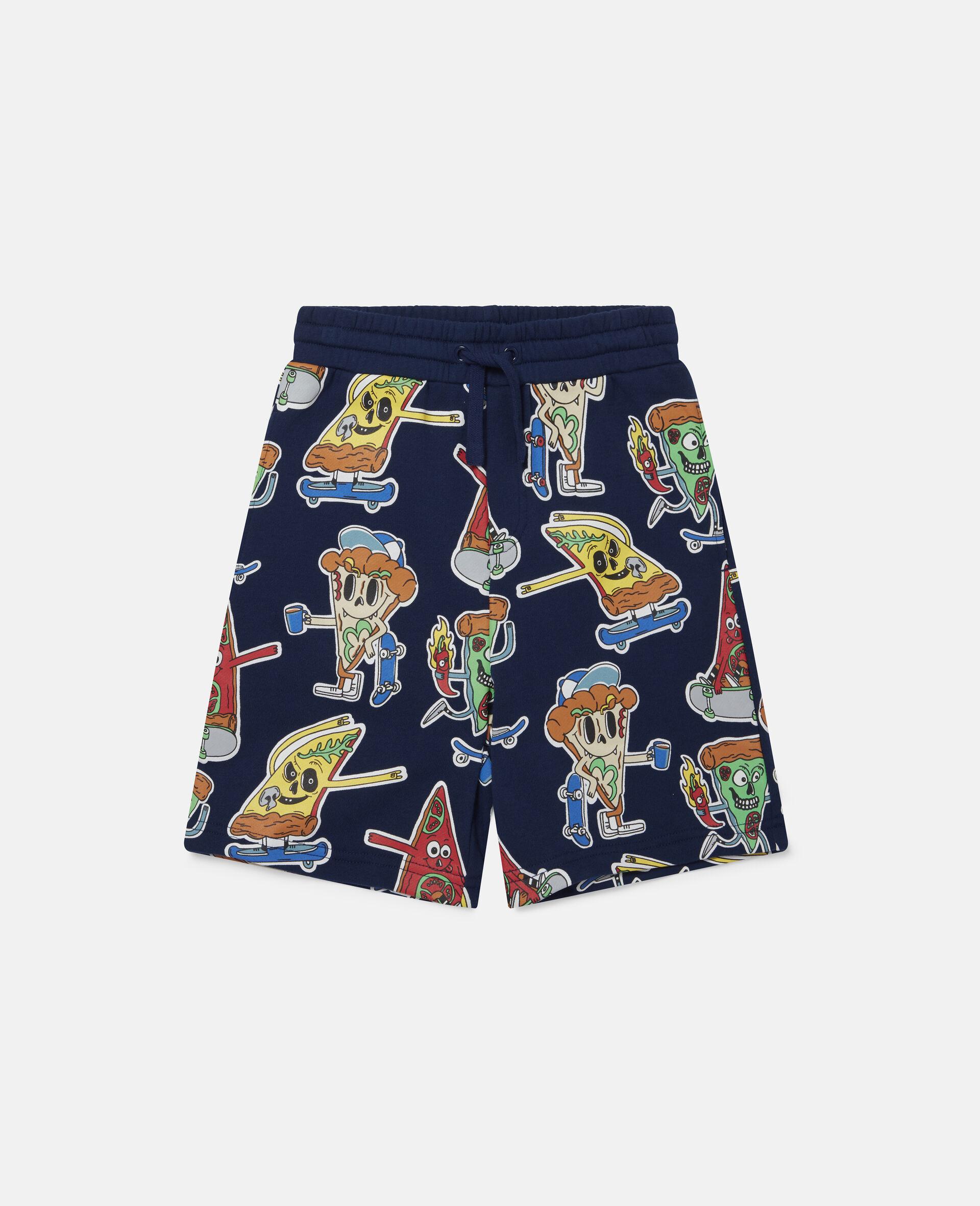 Fleece-Shorts mit Pizza-Skater-Motiv-Blau-large image number 0