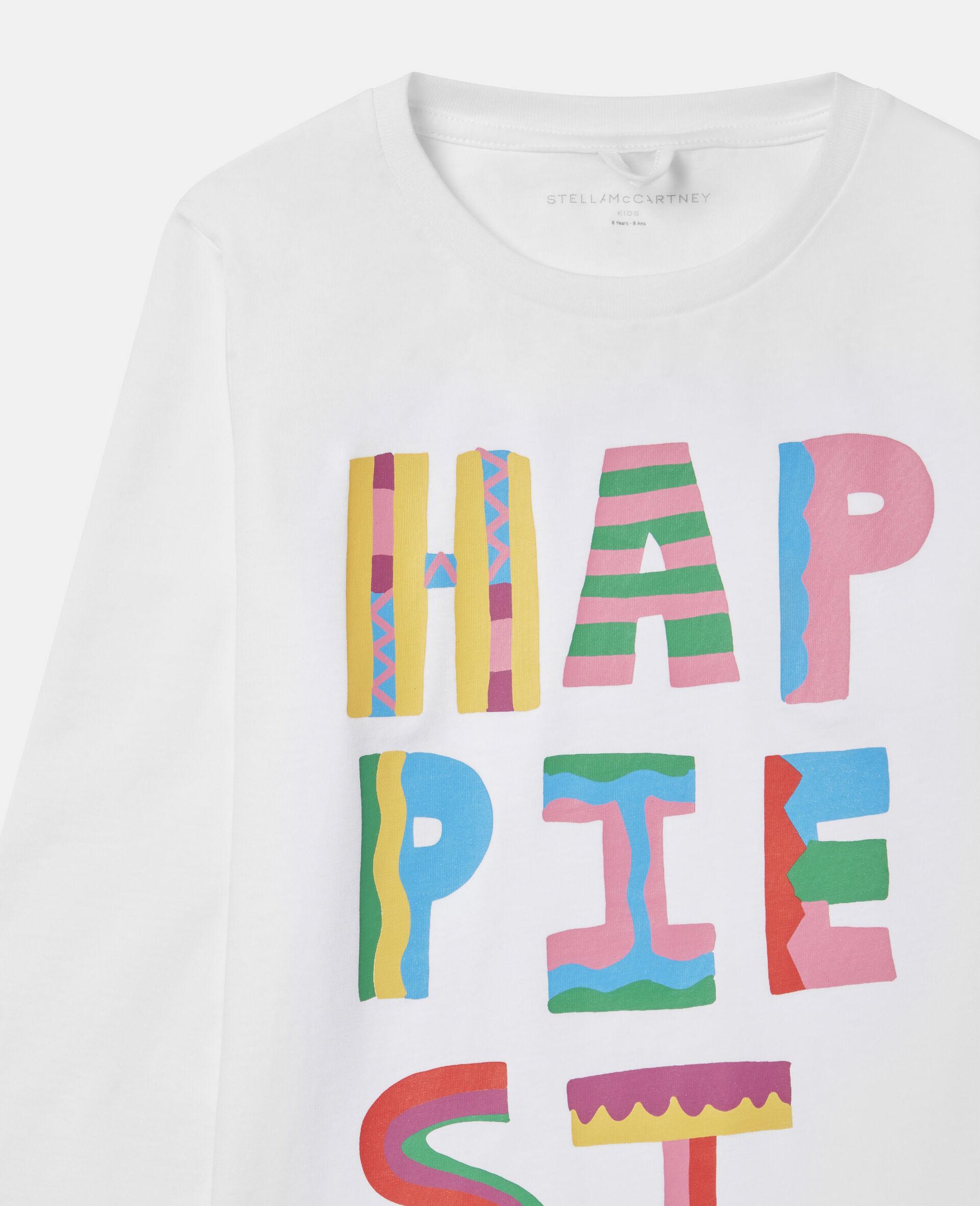 Top aus Baumwolle mit Happiest-Print-Weiß-large image number 1
