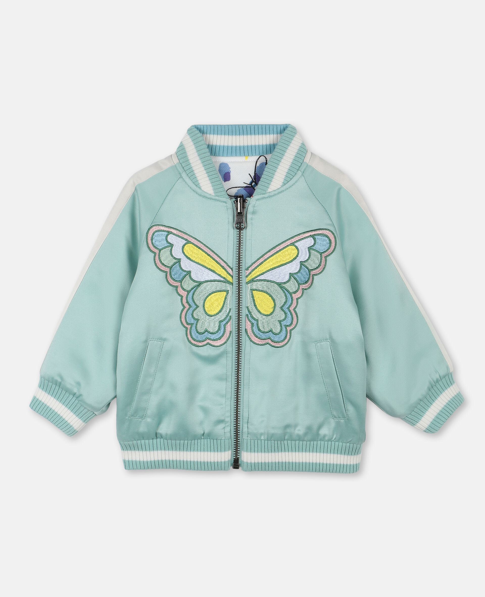Butterfly Satin Bomber -Green-large image number 0