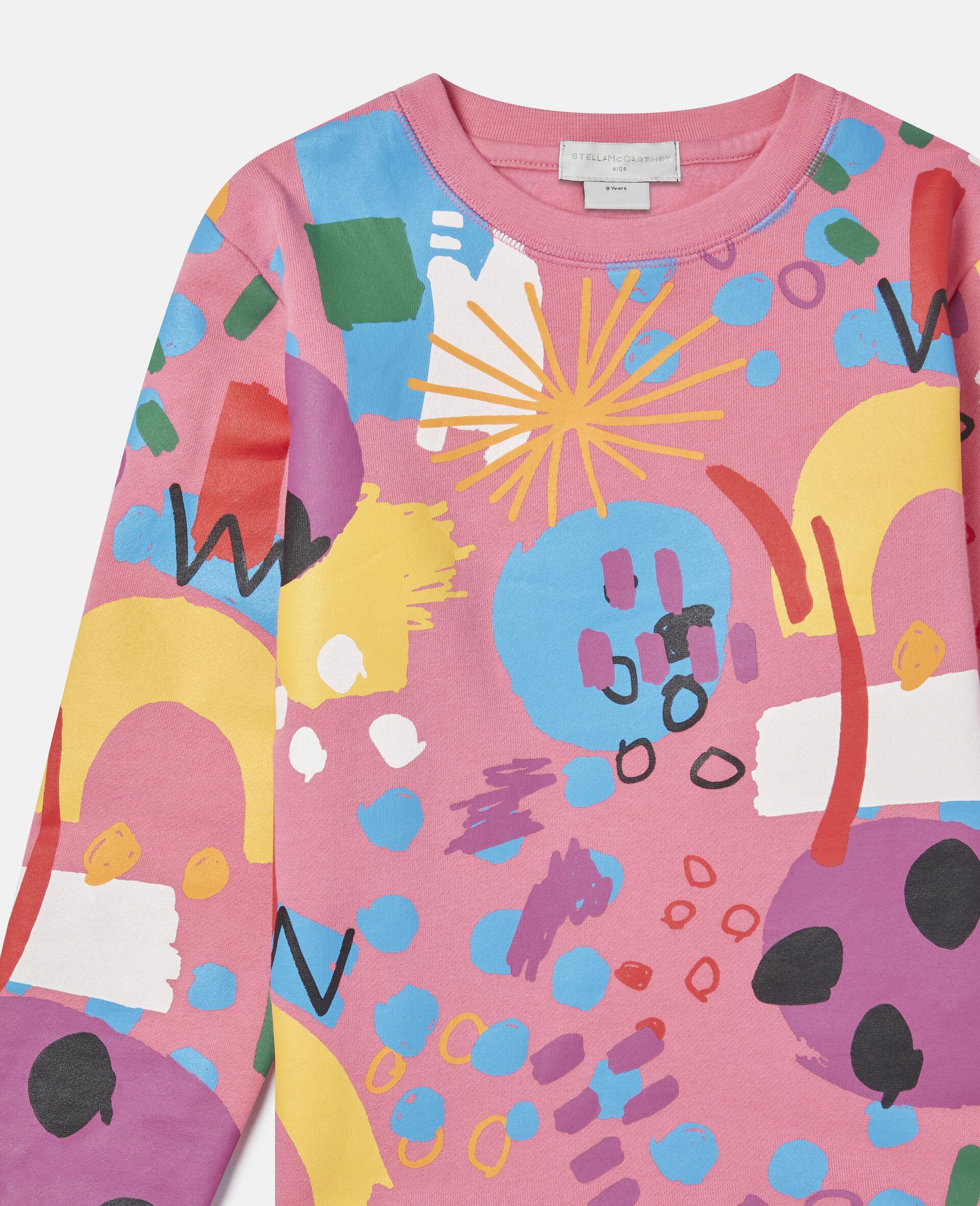 Sweat-shirt en polaire de coton Peinture -Rose-large image number 1