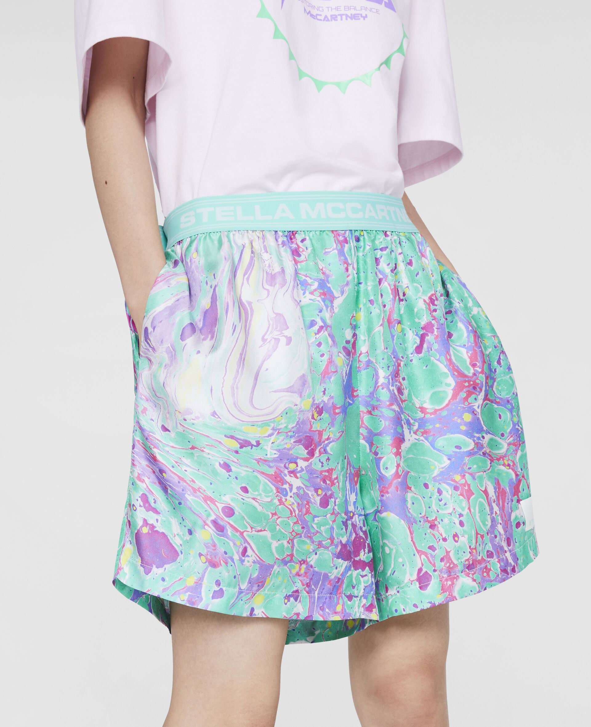 Myfawnwy Printed Silk Shorts-Multicolour-large image number 4