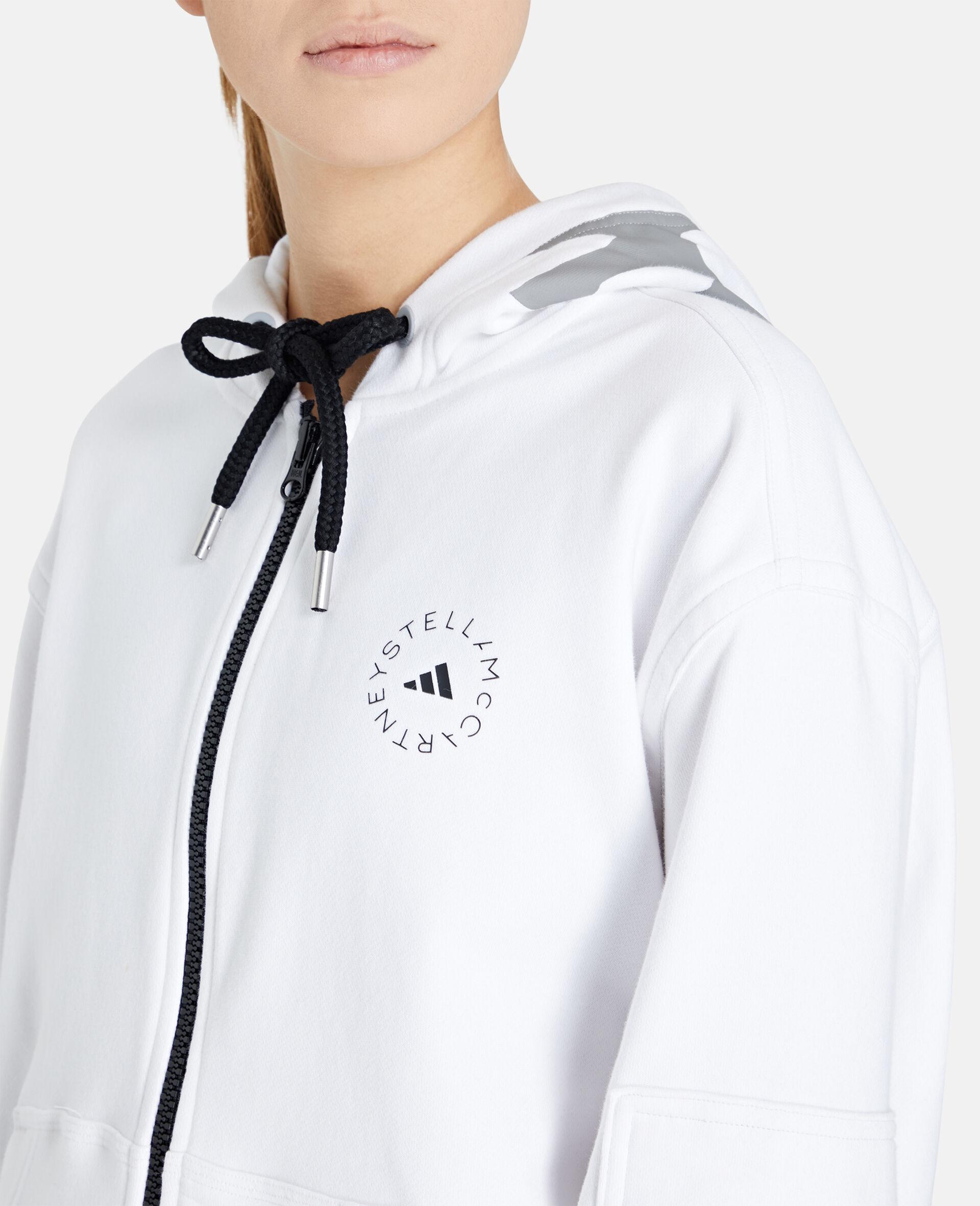 Weißer Kapuzenpullover mit durchgehendem Reißverschluss-Weiß-large image number 3
